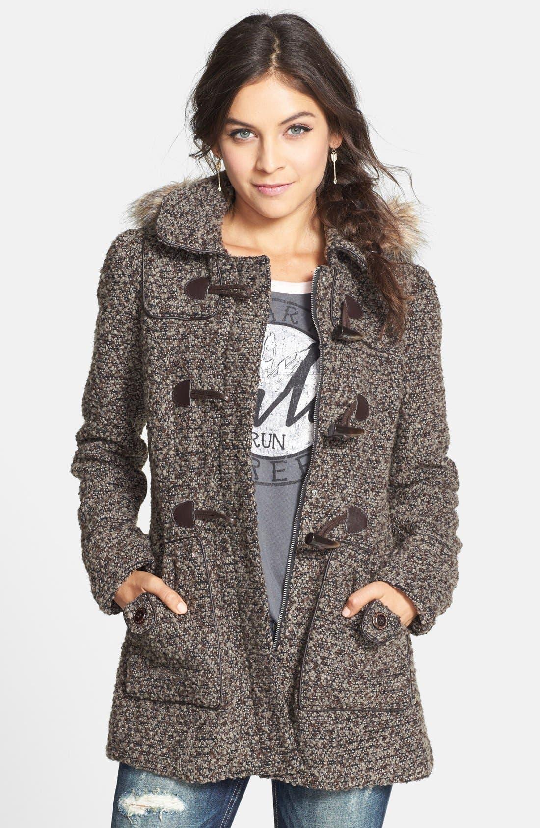 Main Image - Coffee Shop Faux Fur Trim Bouclé Toggle Coat (Juniors) (Online Only)