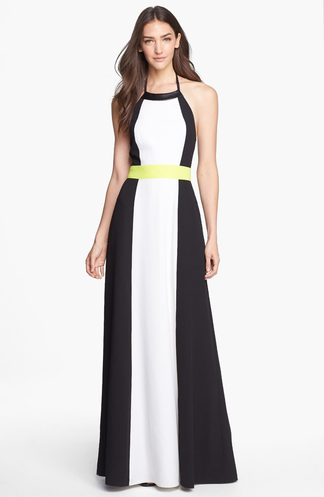 Main Image - Vince Camuto Colorblock Halter Maxi Dress
