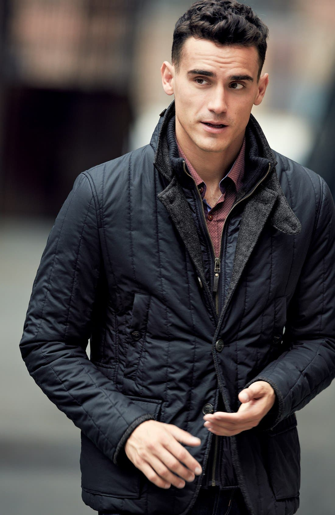 Main Image - Ted Baker London Quilted Jacket & Trim Fit Sport Shirt