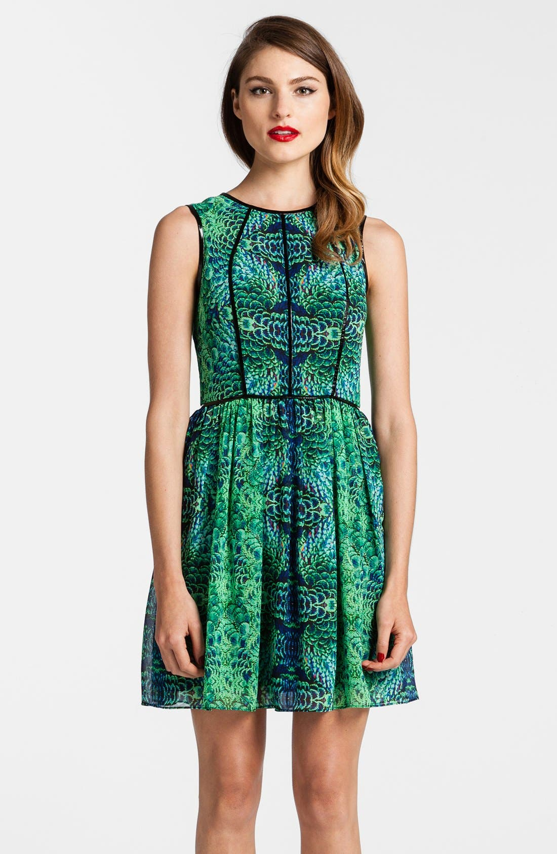 Main Image - Cynthia Steffe Faux Leather Piping Print Chiffon Fit & Flare Dress