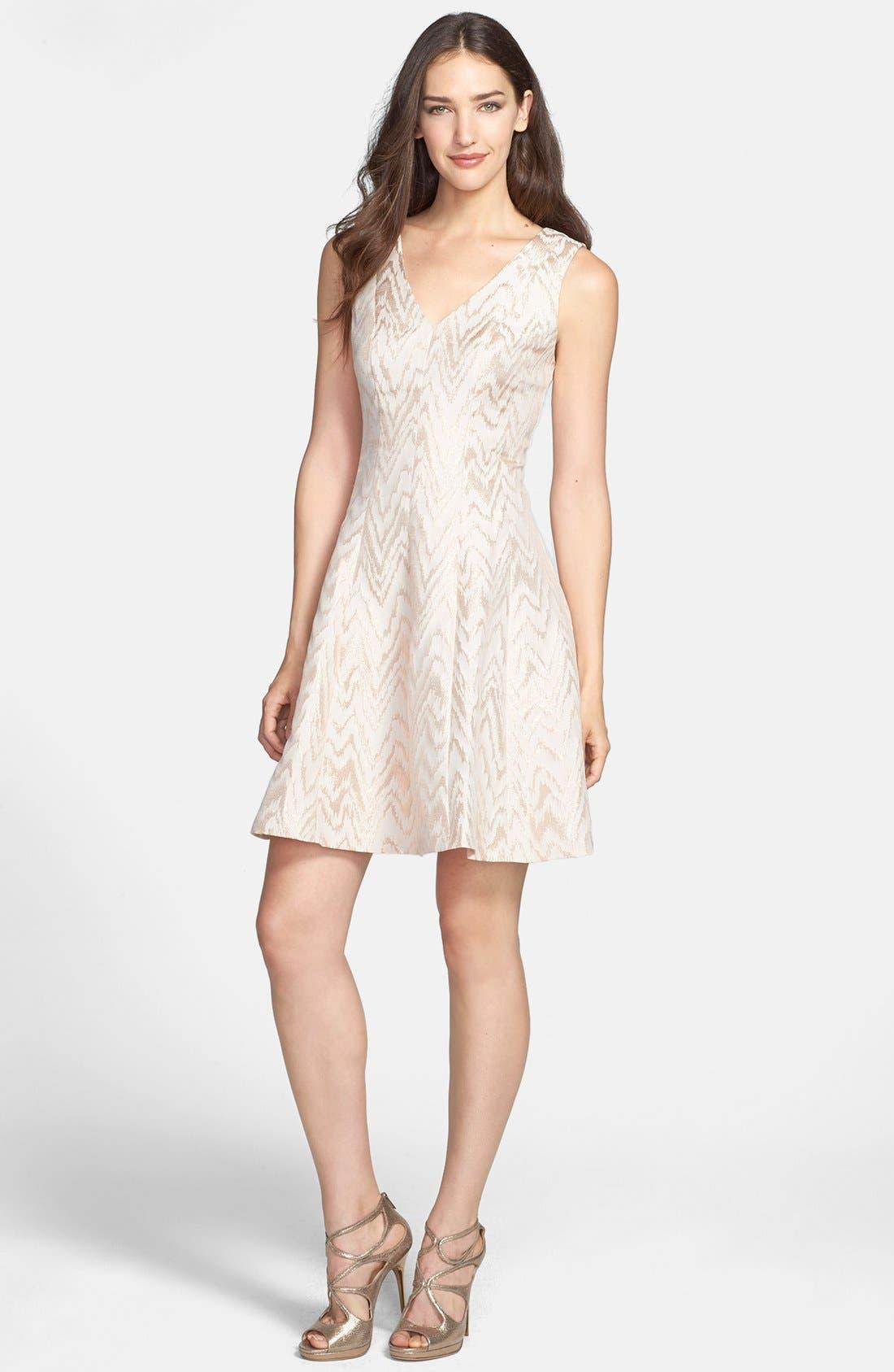 Main Image - Vince Camuto Metallic Jacquard Fit & Flare Dress