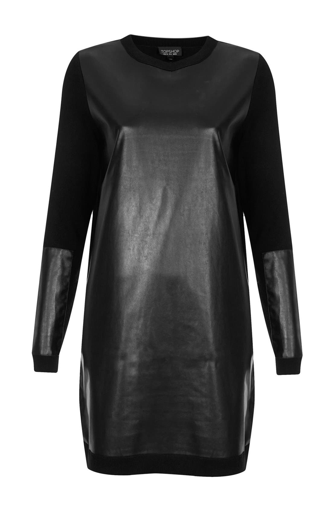 Alternate Image 3  - Topshop Faux Leather Panel Sweater Dress