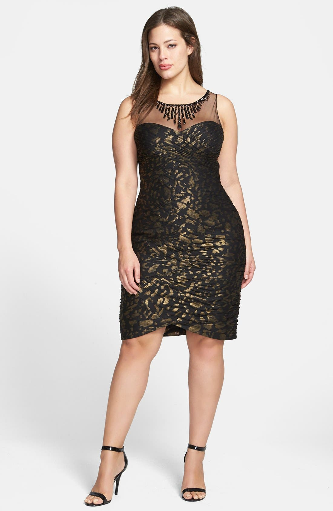 Alternate Image 1 Selected - Adrianna Papell Metallic Pattern Shirred Sheath Dress (Plus Size)