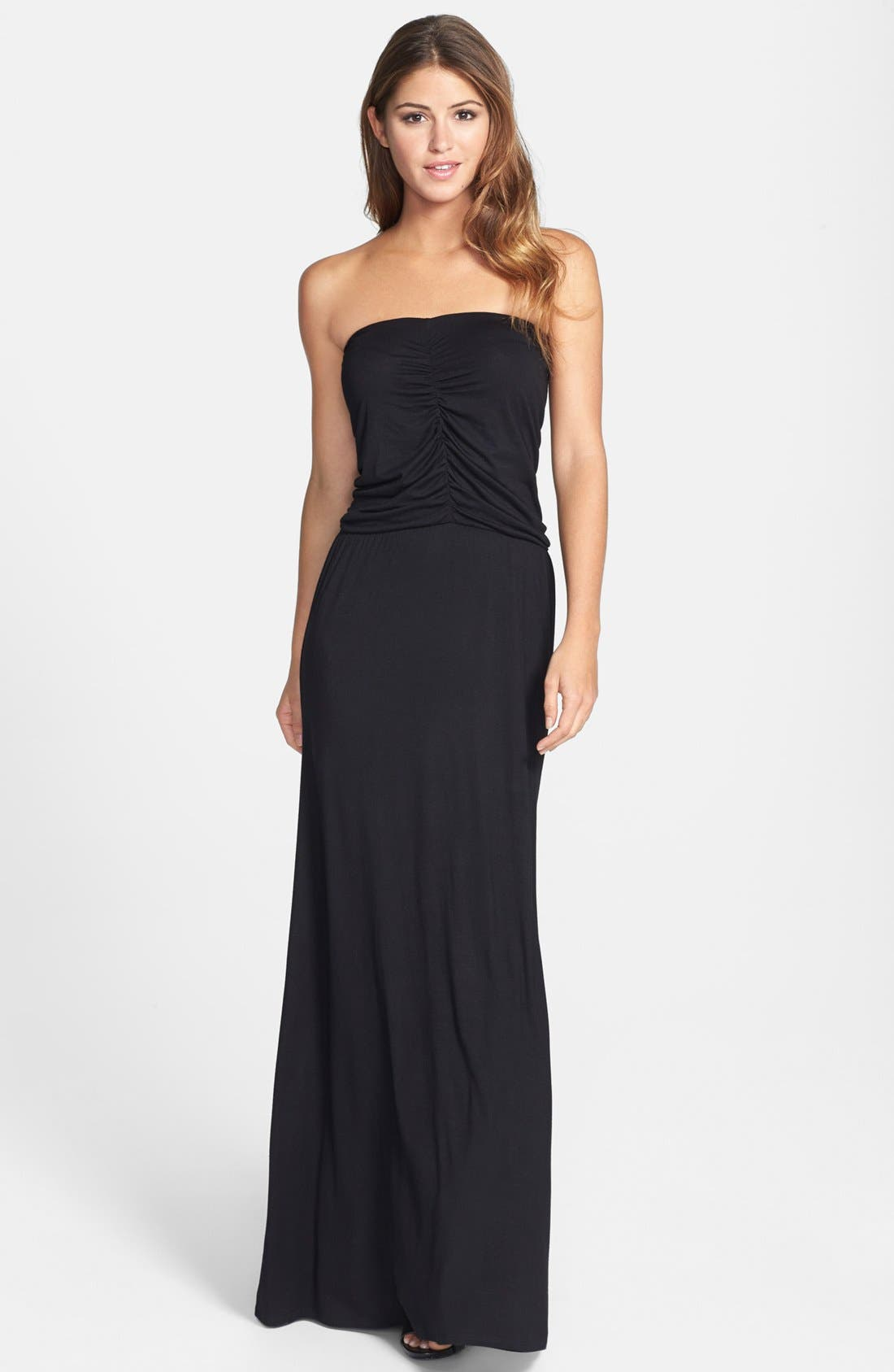 Main Image - Loveappella Shirred Strapless Maxi Dress (Petite)
