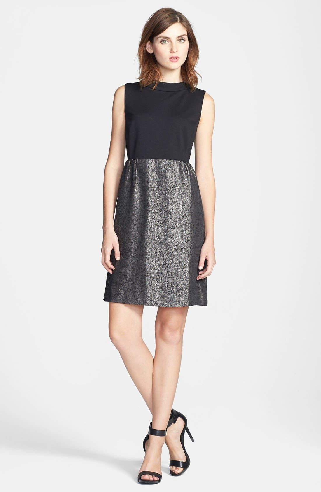 Main Image - Halogen® Mixed Media Dress (Regular & Petite)