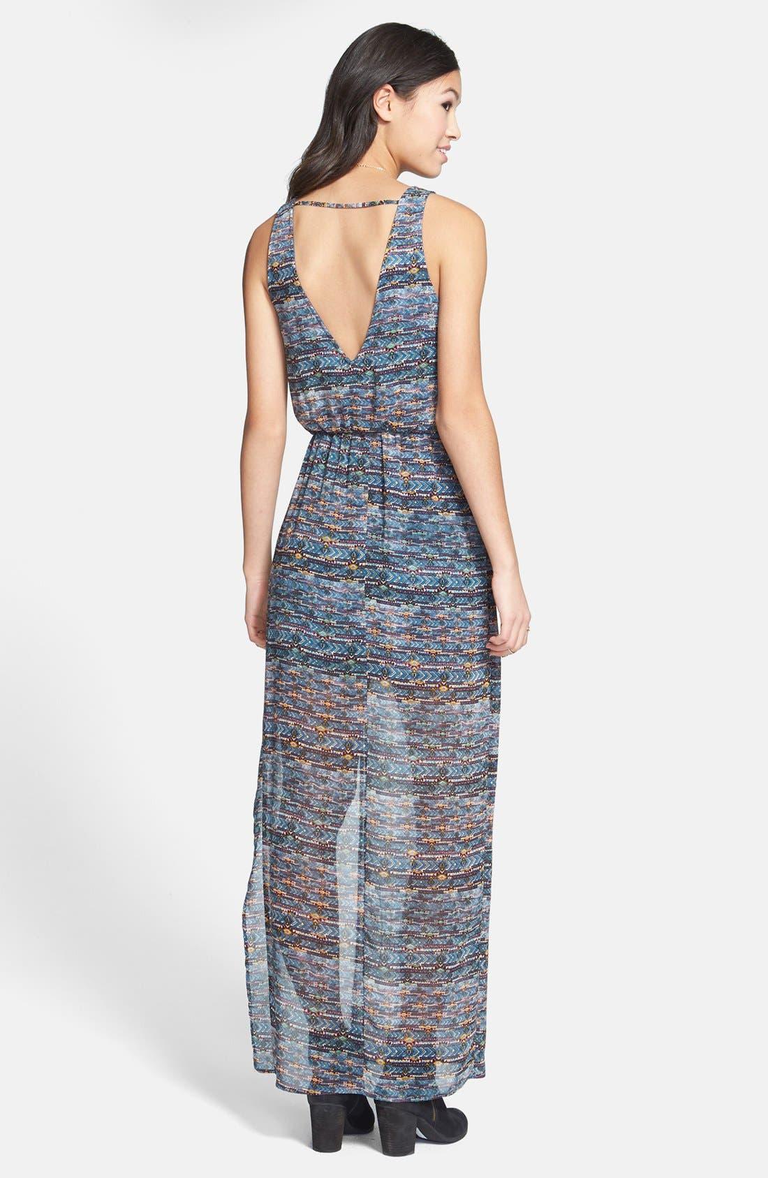 Alternate Image 2  - Lush Faux Wrap Chiffon Maxi Dress (Juniors)