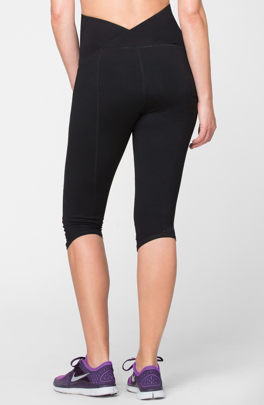 Knee Length Active Maternity Pants with Crossover Panel,                             Alternate thumbnail 2, color,                             Jet Black