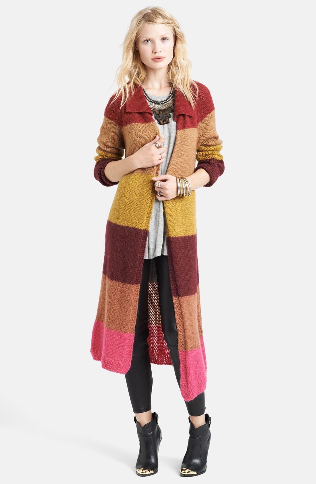 Alternate Image 1 Selected - Free People Stripe Long Cardigan