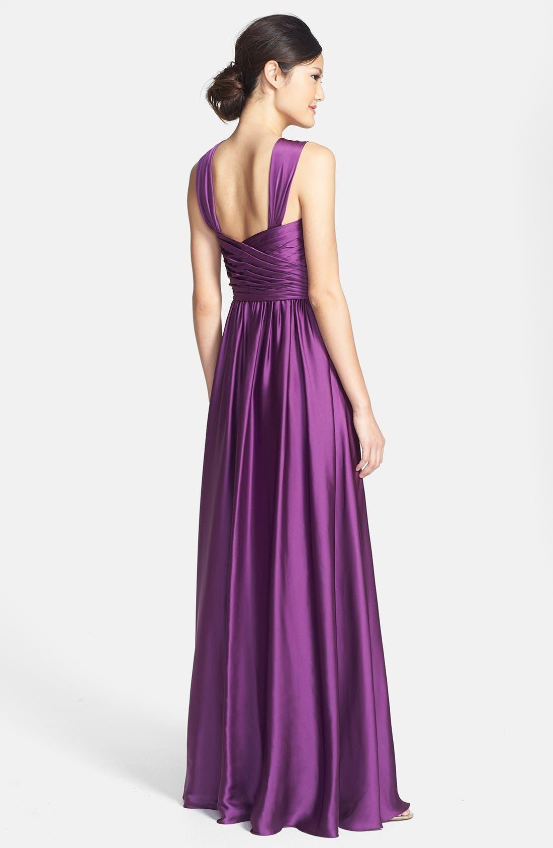 Alternate Image 2  - Monique Lhuillier Bridesmaids Twist Shoulder Satin Chiffon Gown (Nordstrom Exclusive)
