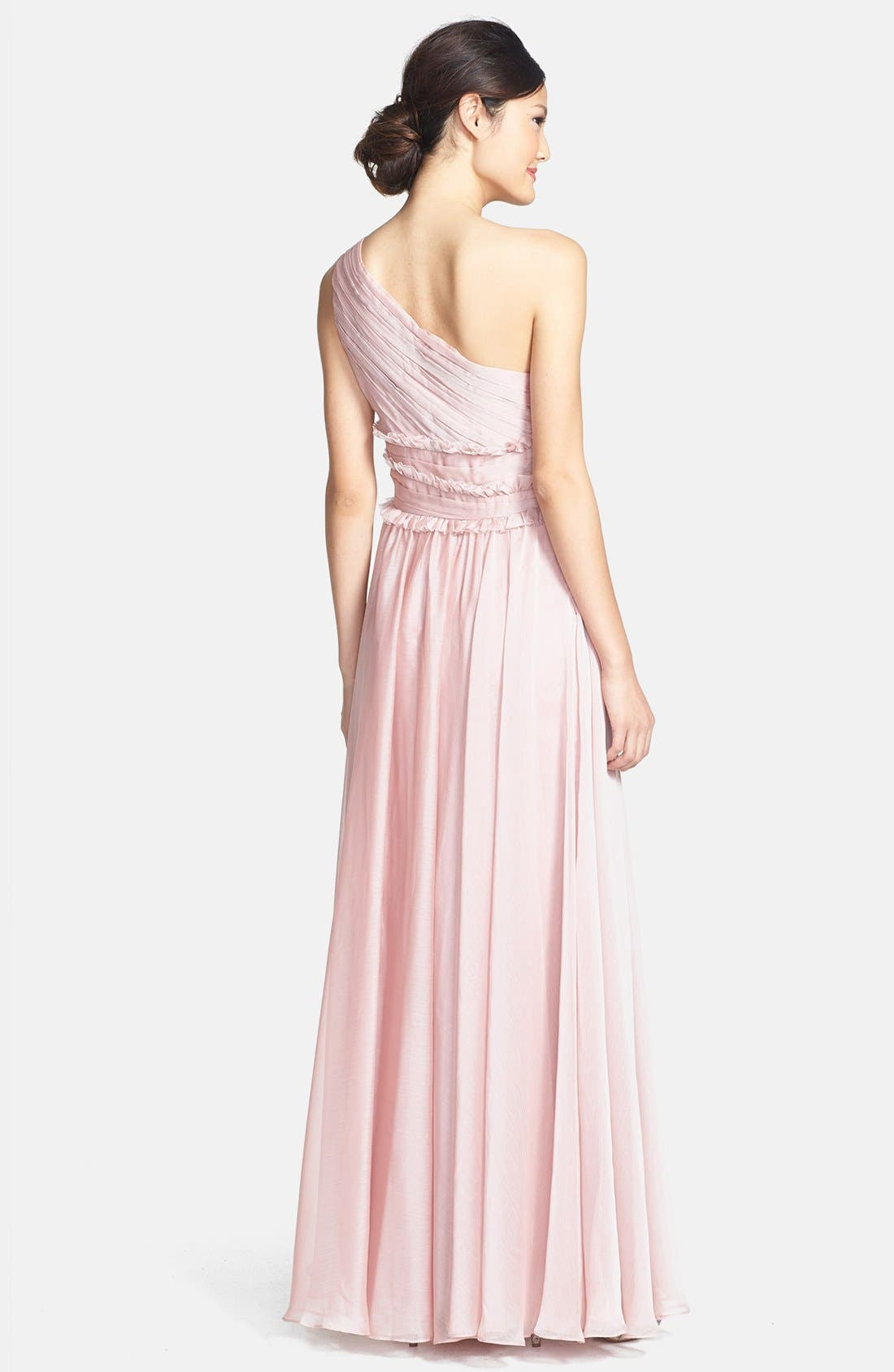 Alternate Image 2  - ML Monique Lhuillier Bridesmaids One-Shoulder Chiffon Gown (Nordstrom Exclusive)