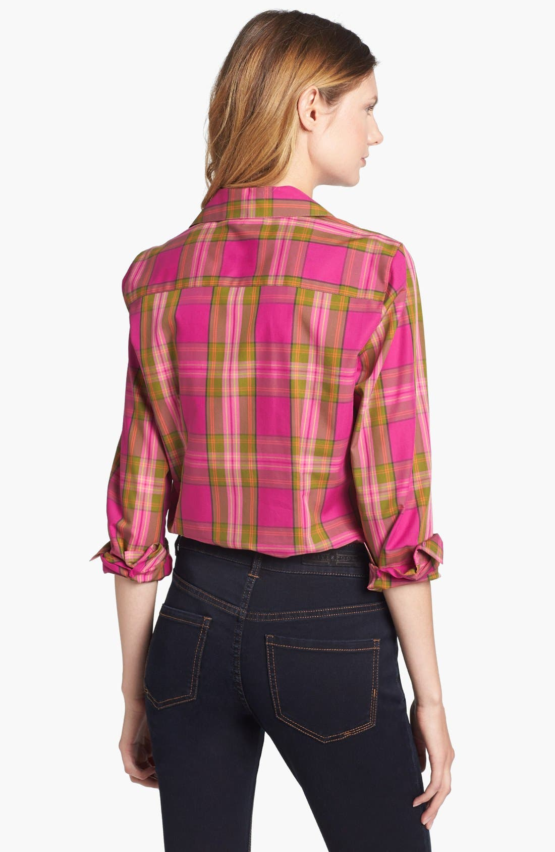 Alternate Image 2  - Foxcroft 'Autumn Tartan' Woven Cotton Shirt (Petite)
