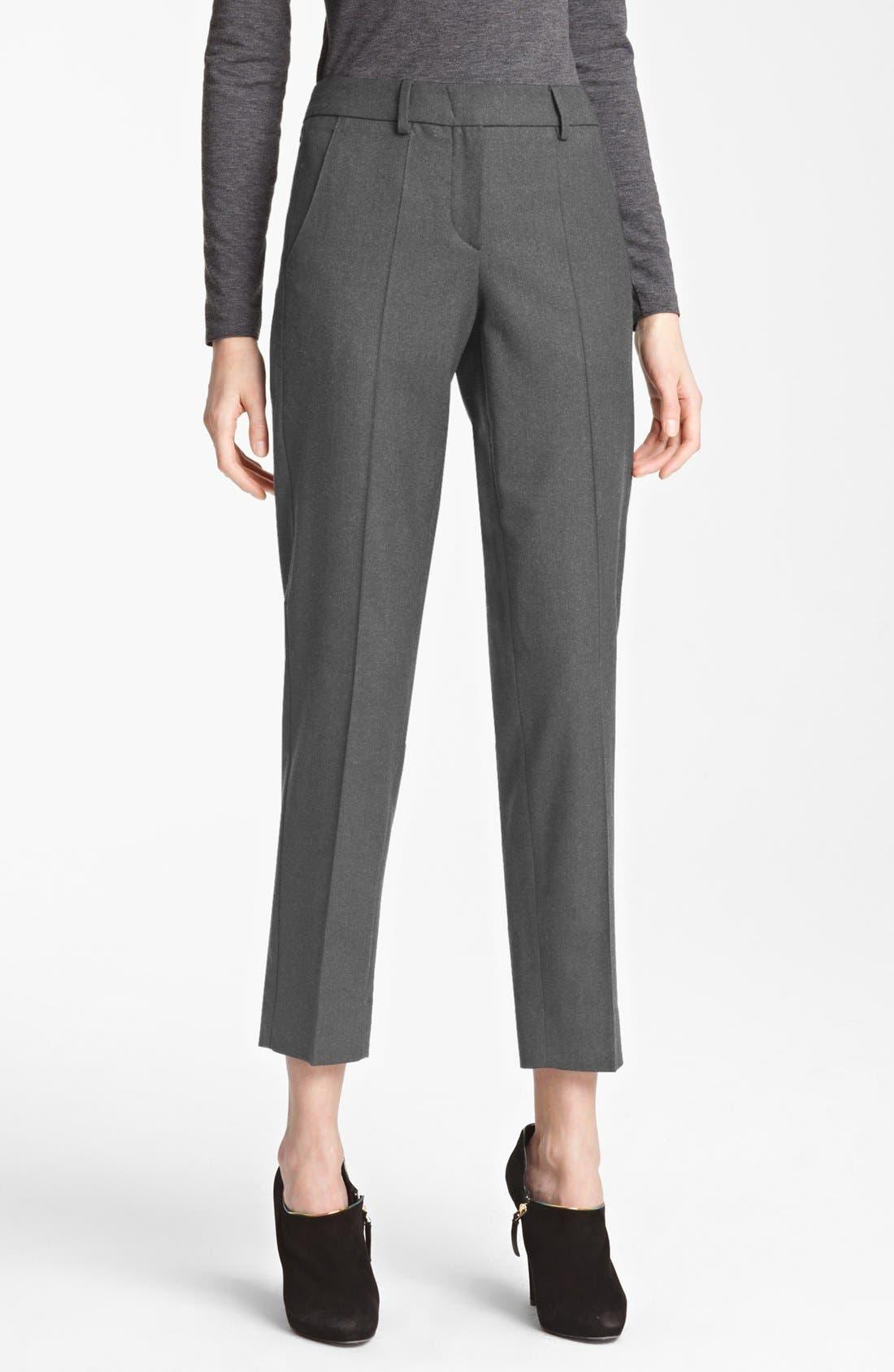 Main Image - Armani Collezioni Slim Stretch Flannel Crop Pants