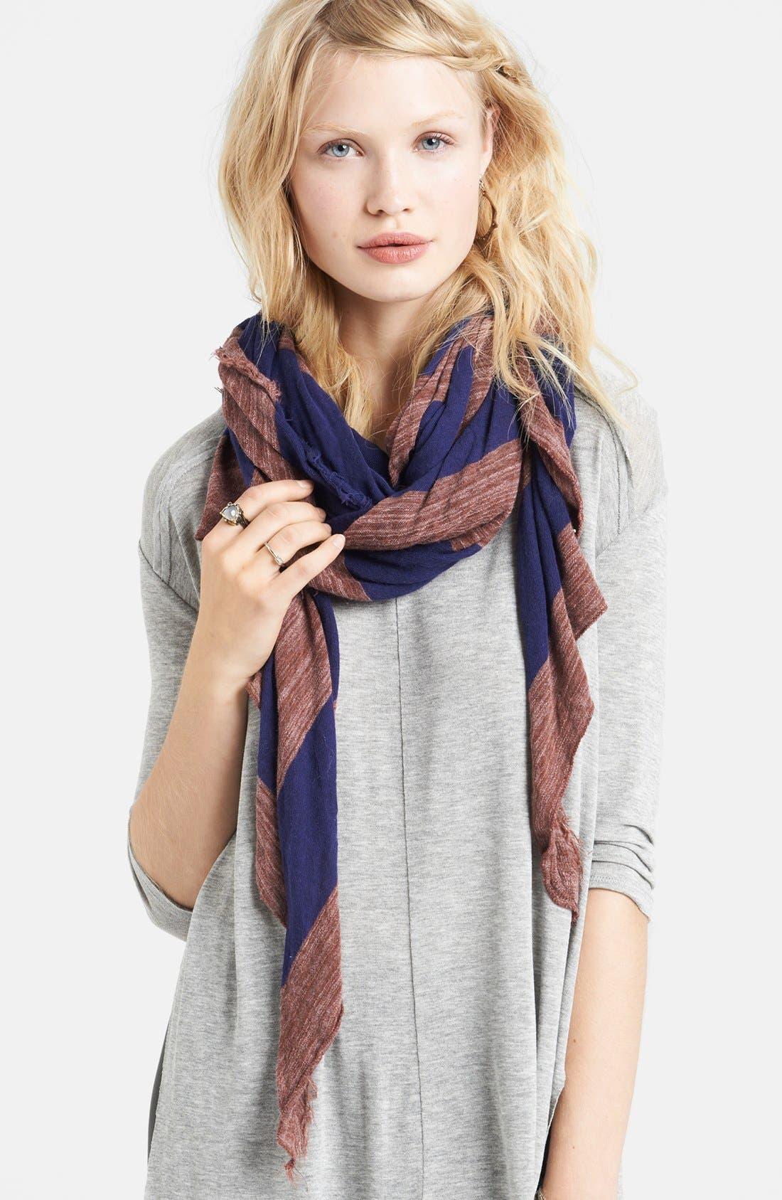 Main Image - Free People Stripe Cotton Jersey Scarf