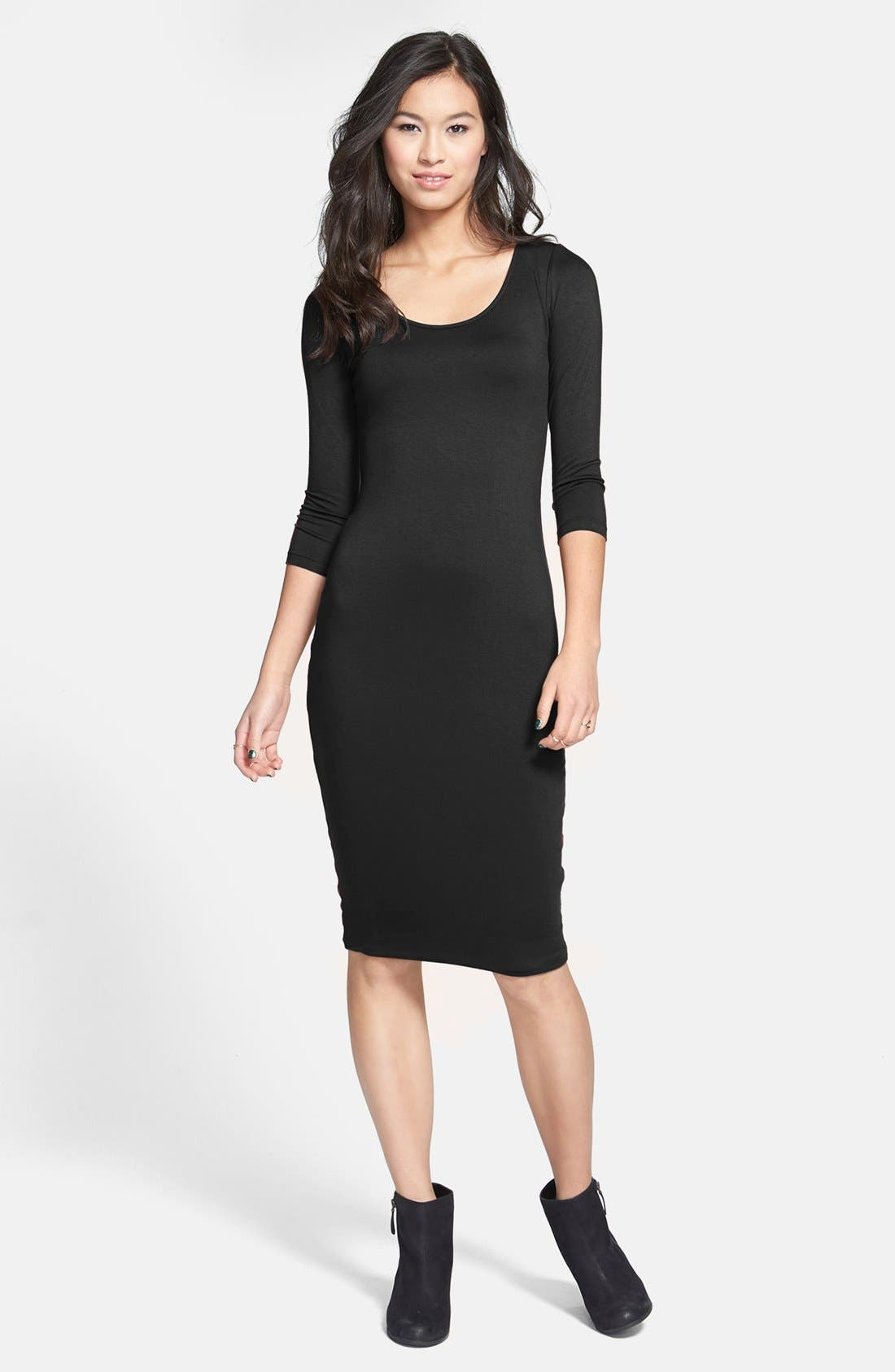Alternate Image 1 Selected - Soprano Three Quarter Sleeve Body-Con Dress (Juniors)