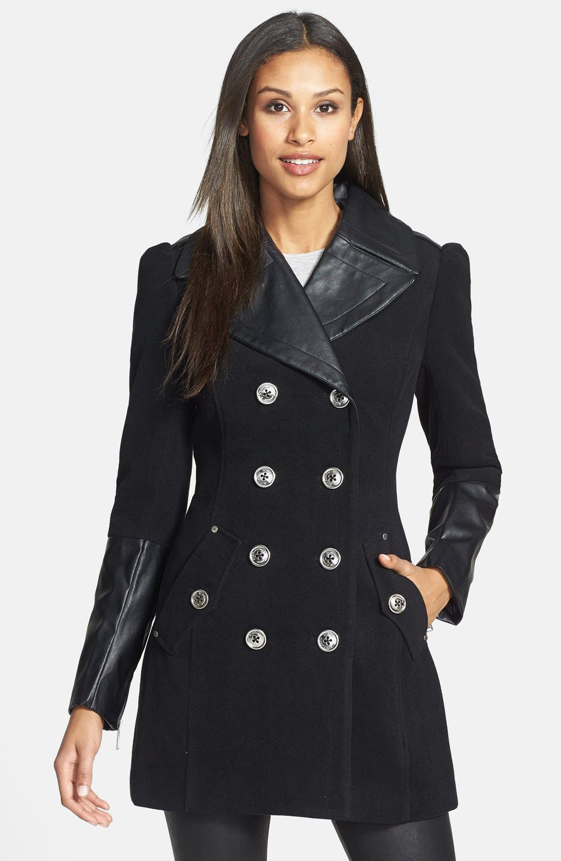 Main Image - BCBGeneration Faux Leather Trim Military Peacoat