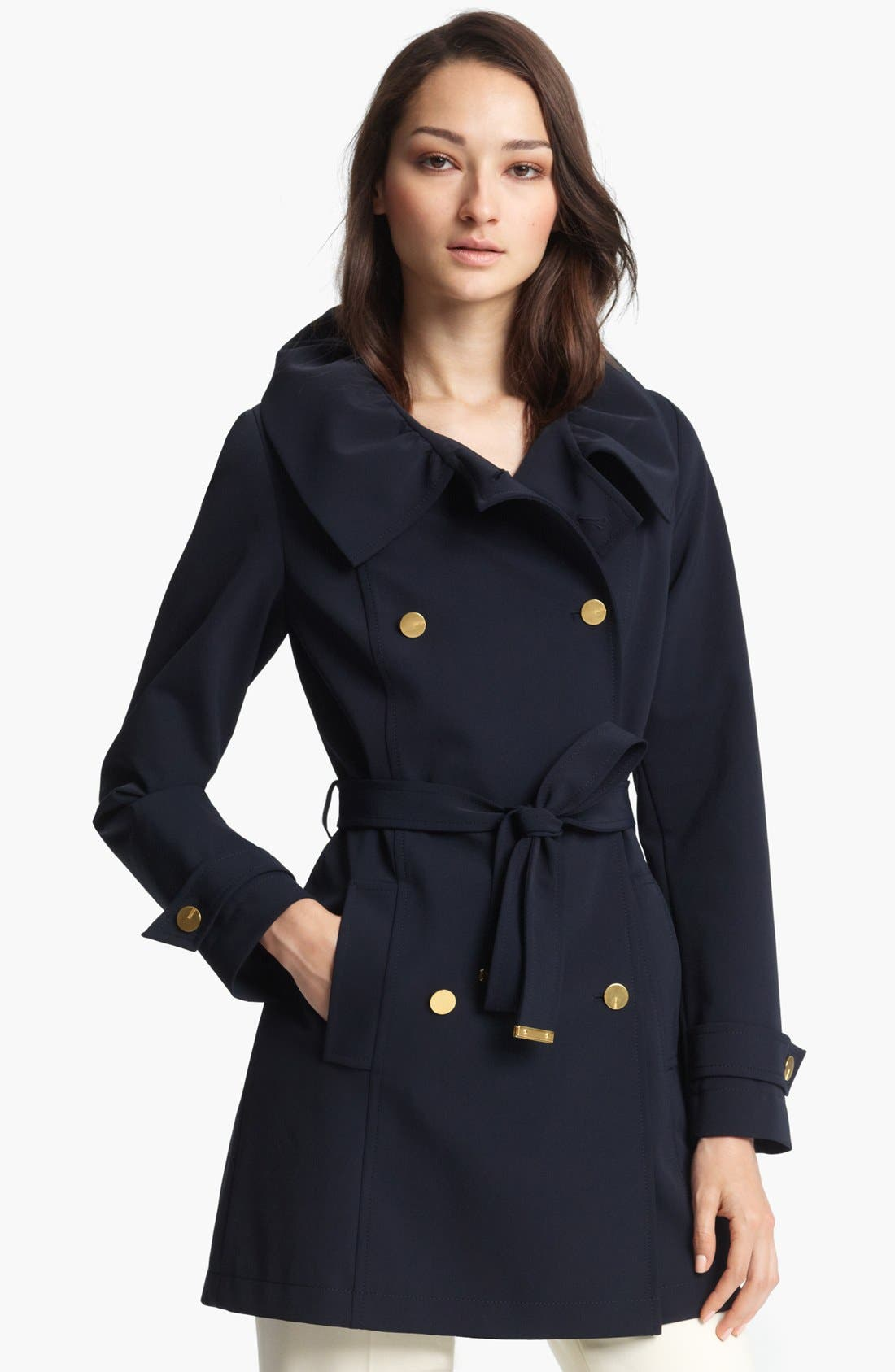 Alternate Image 1 Selected - ESCADA Short Double Breasted Techno Trench Coat