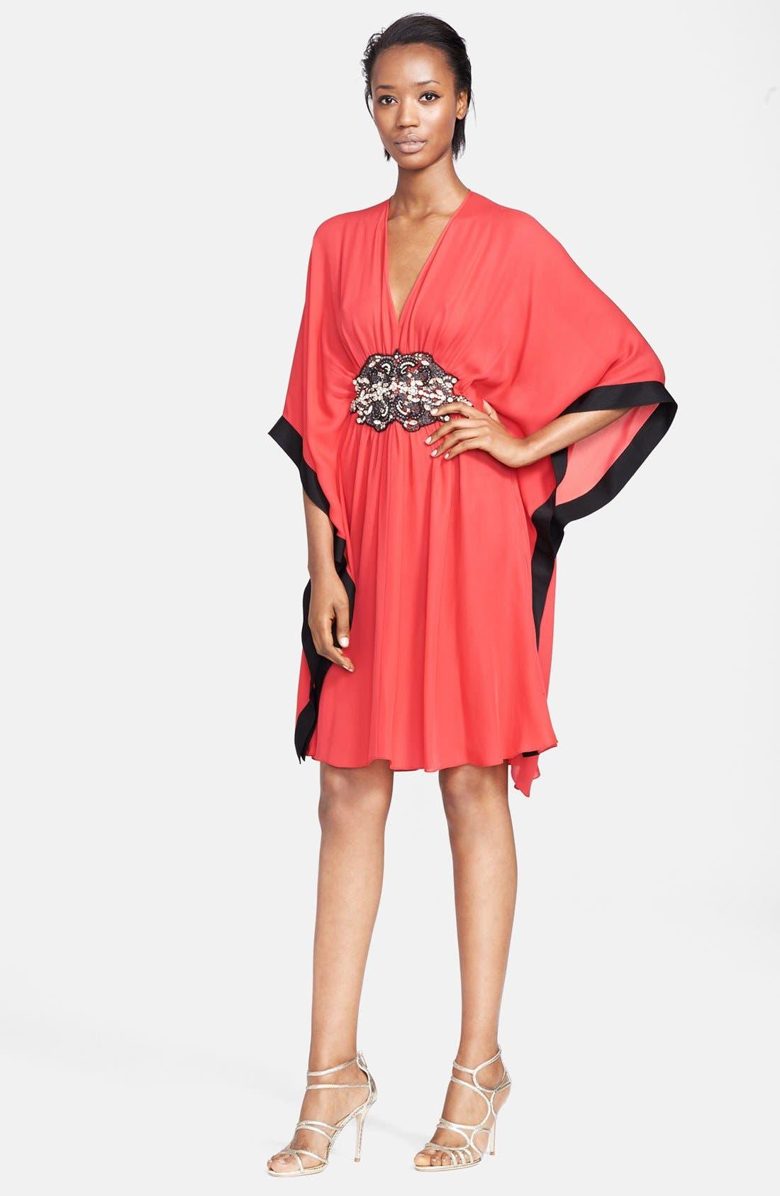 Alternate Image 1 Selected - Naeem Khan Jewel Detail Silk Georgette Caftan