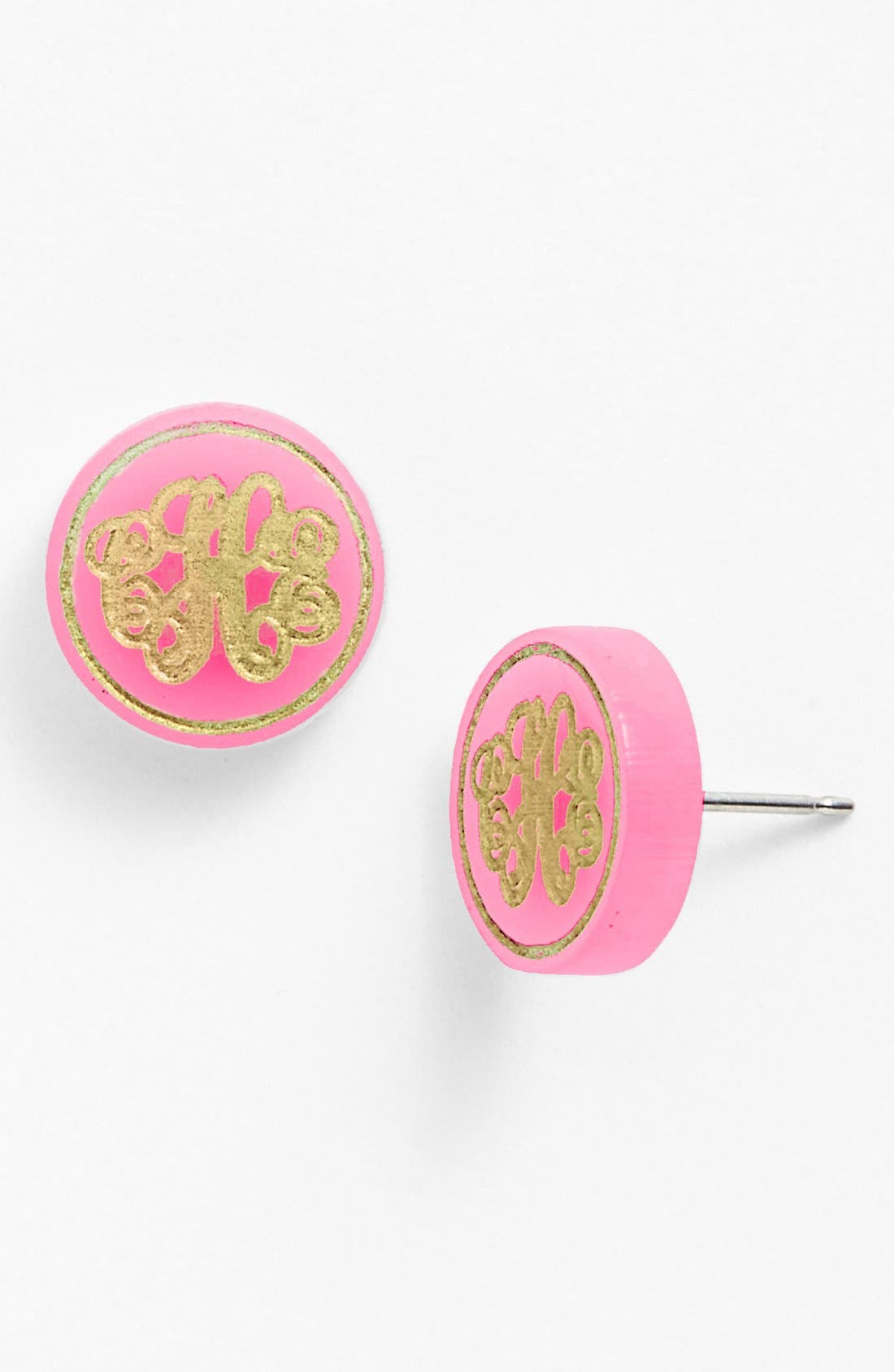 MOON AND LOLA 'Chelsea' Medium Personalized Monogram Stud Earrings (Nordstrom Exclusive) in Hot Pink/ Gold