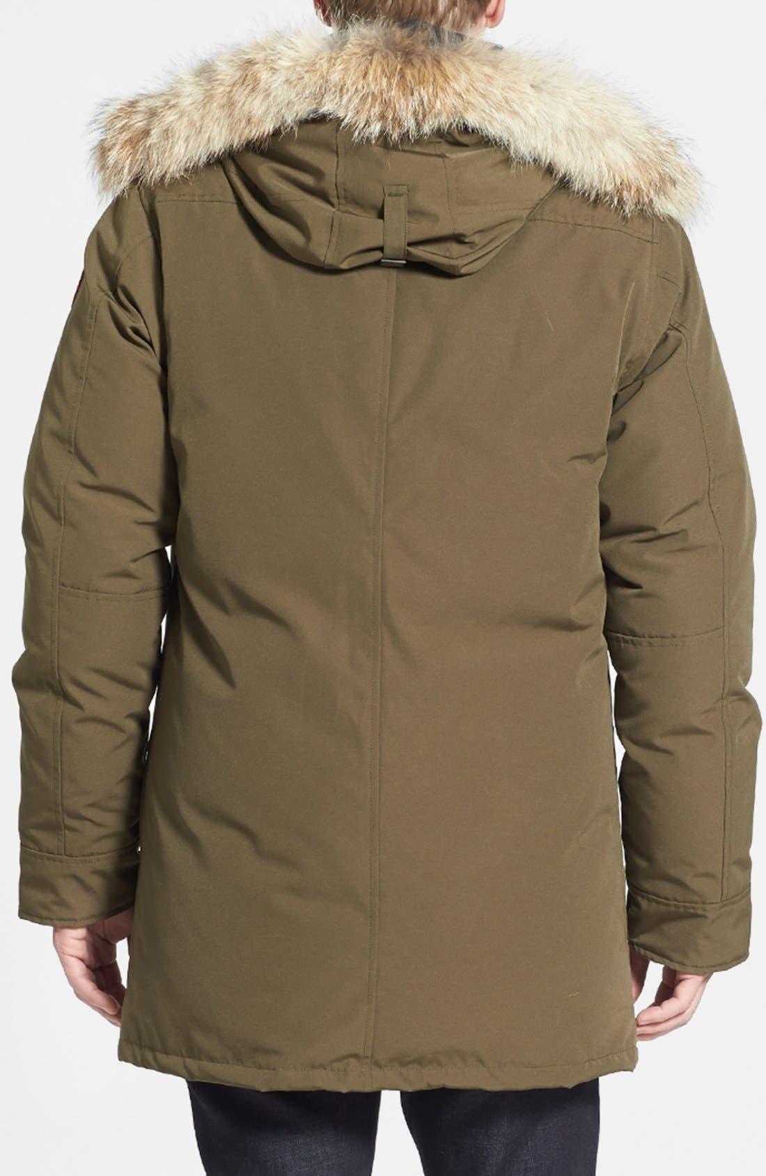 'Chateau' Slim Fit Genuine Coyote Fur Trim Jacket,                             Alternate thumbnail 2, color,                             Military Green