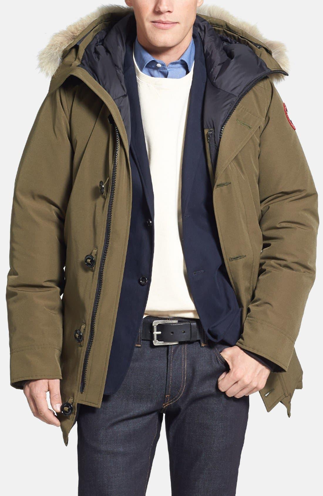 'Chateau' Slim Fit Genuine Coyote Fur Trim Jacket,                         Main,                         color, Military Green