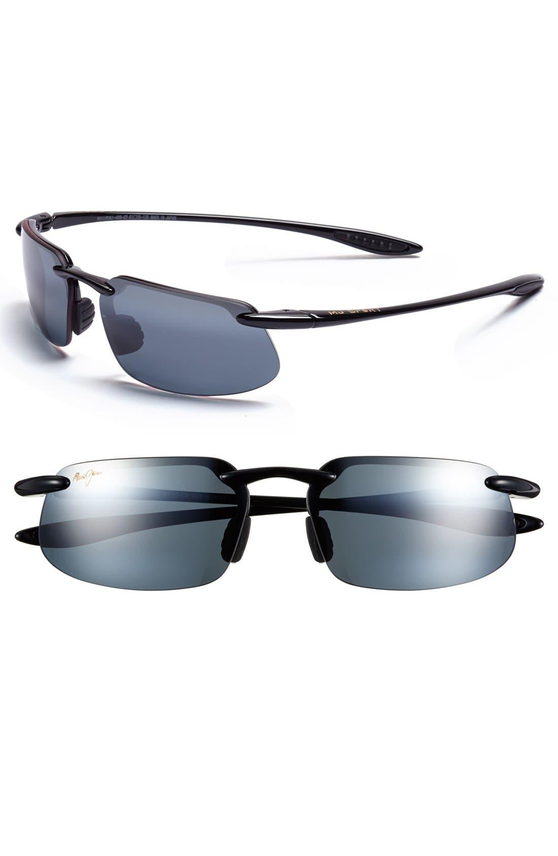 'Kanaha - PolarizedPlus<sup>®</sup>2' 62mm Sunglasses,                         Main,                         color, Gloss Black/ Grey