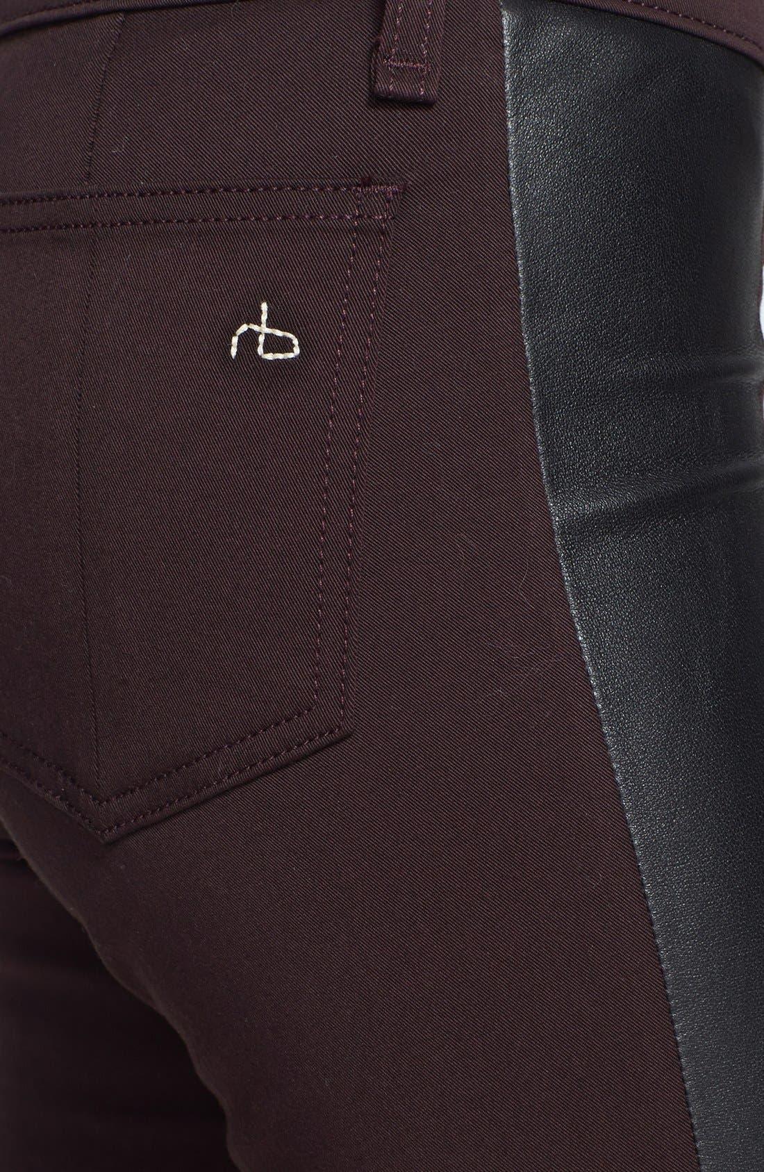 Alternate Image 3  - rag & bone/JEAN 'Pop' Leather Inset Skinny Jeans (Wine)