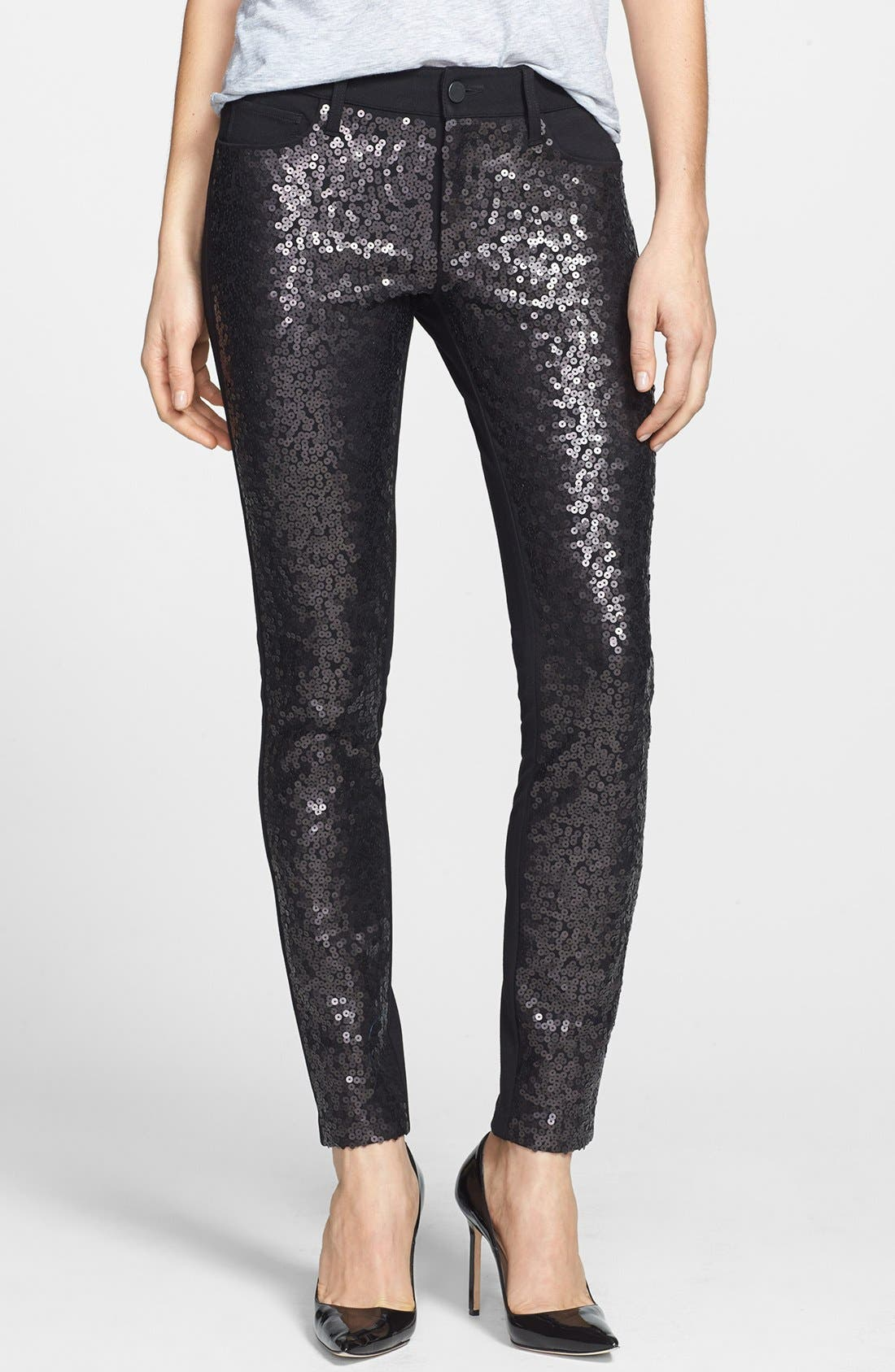 Alternate Image 1 Selected - Paige Denim 'Emily' Skinny Sequin Front Pants