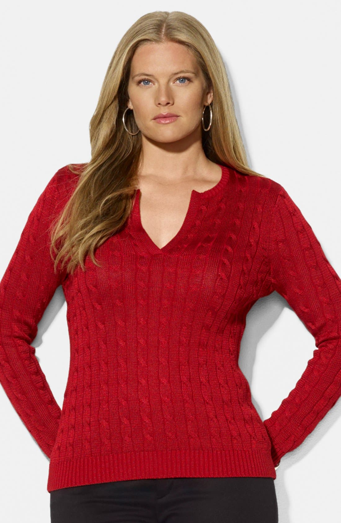 Alternate Image 1 Selected - Lauren Ralph Lauren Cable Knit Sweater (Plus Size)
