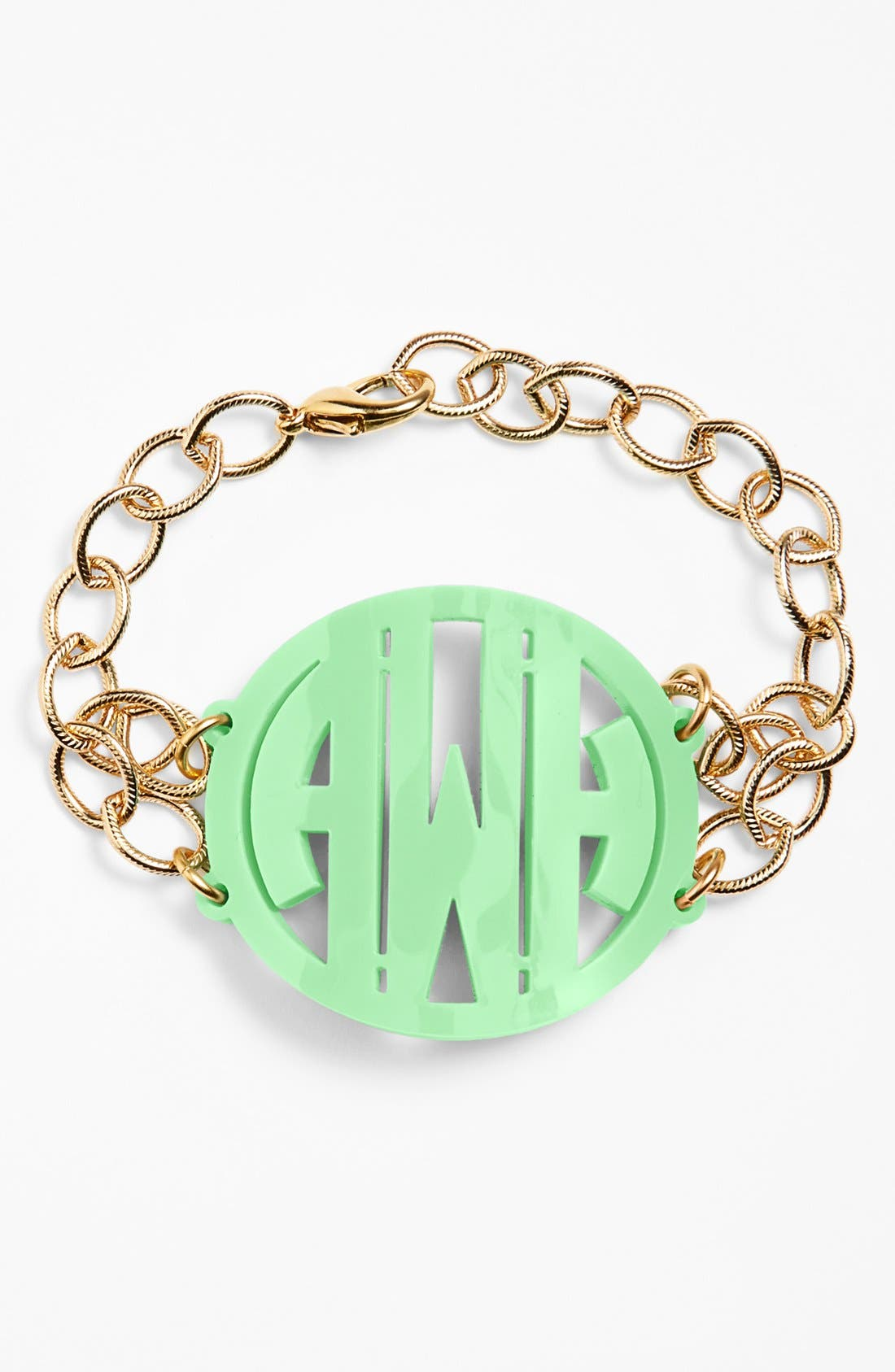 'Annabel' Large Personalized Monogram Bracelet,                         Main,                         color, Mint/ Gold