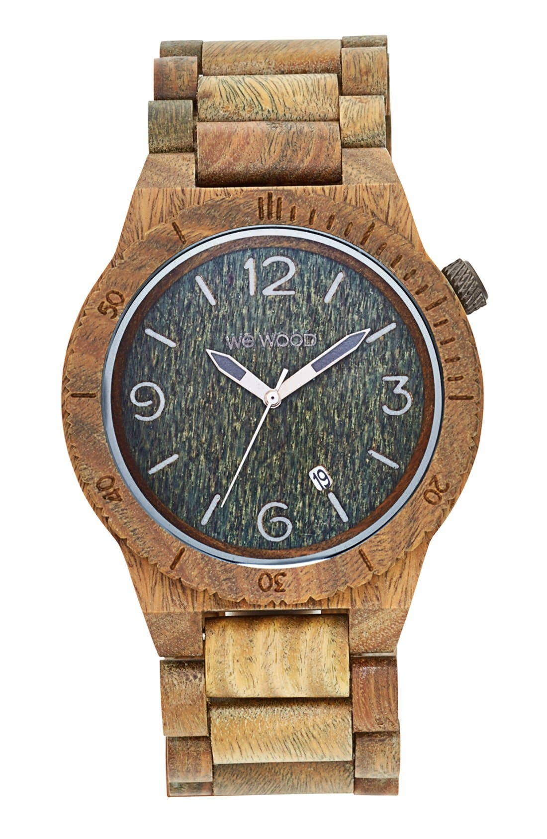 'Alpha' Wood Bracelet Watch, 46mm,                         Main,                         color, Army Green