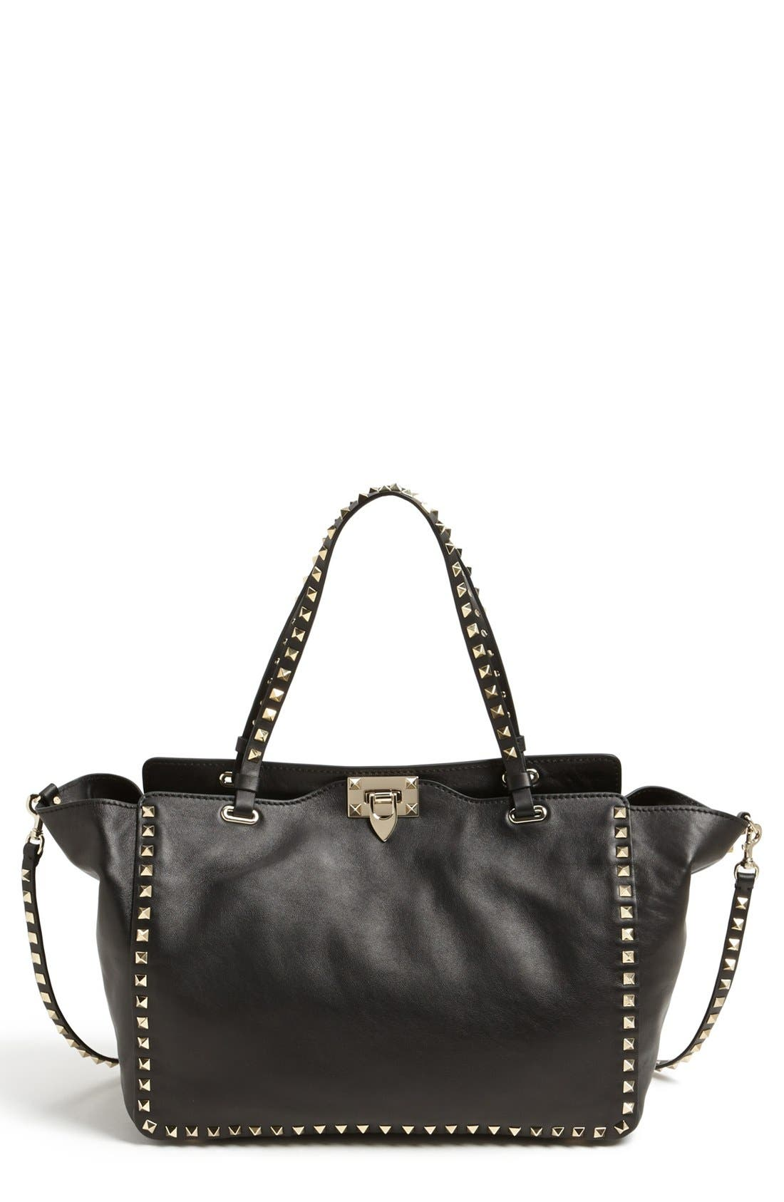 Alternate Image 1 Selected - Valentino 'Medium Rockstud' Double Handle Leather Tote