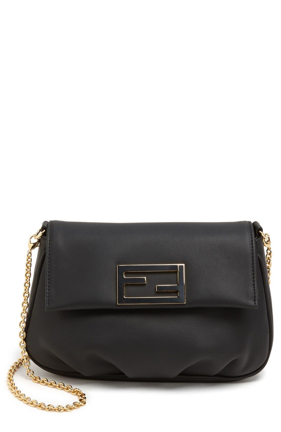 'Fendista' Pouchette Crossbody Bag,                             Main thumbnail 1, color,                             Black