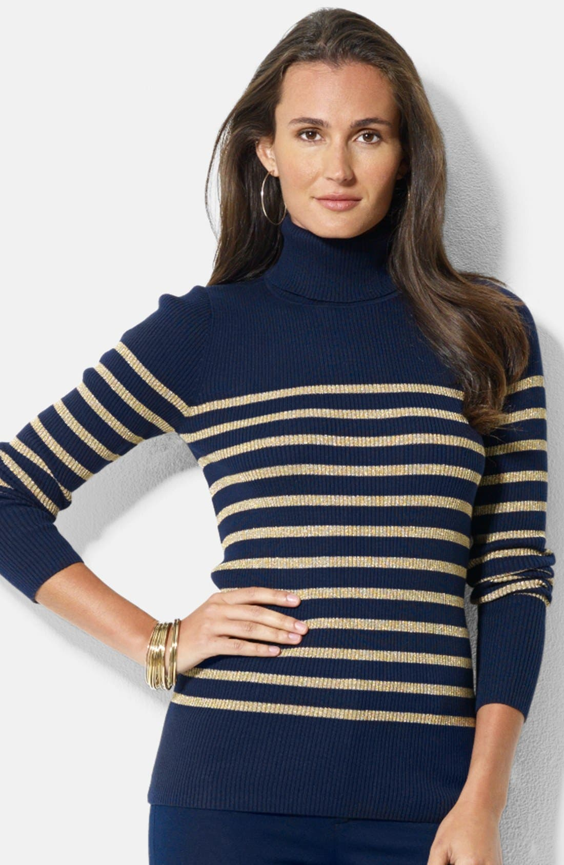 Alternate Image 1 Selected - Lauren Ralph Lauren Stripe Ribbed Turtleneck Top (Petite)