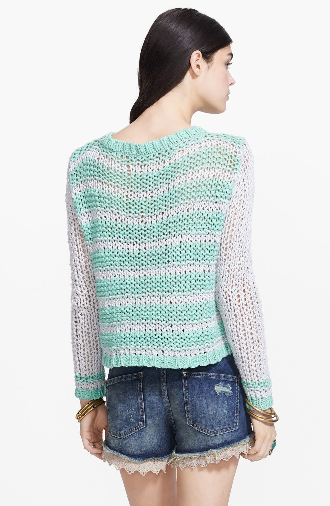 Alternate Image 2  - Free People 'Provence' Stripe Open Knit Pullover