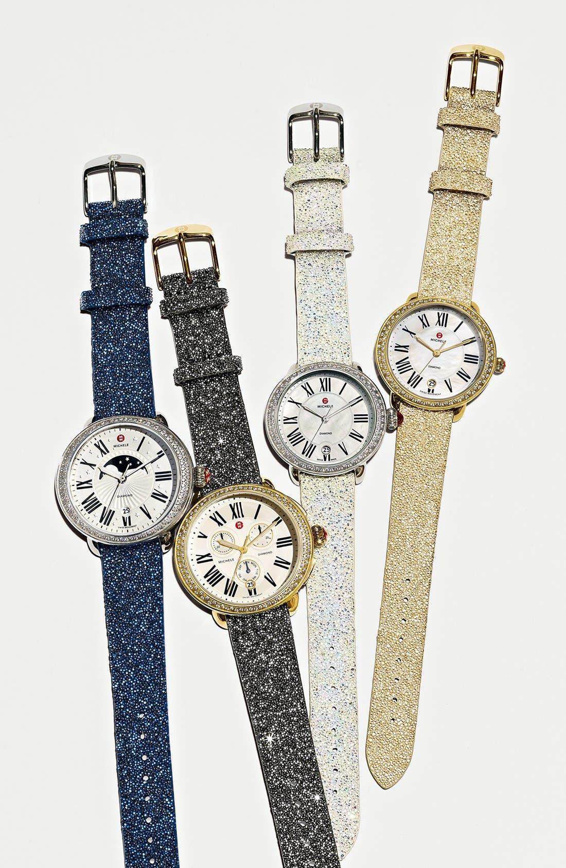 Alternate Image 3  - MICHELE Serein 16 Diamond Gold Plated Watch Case, 34mm x 36mm