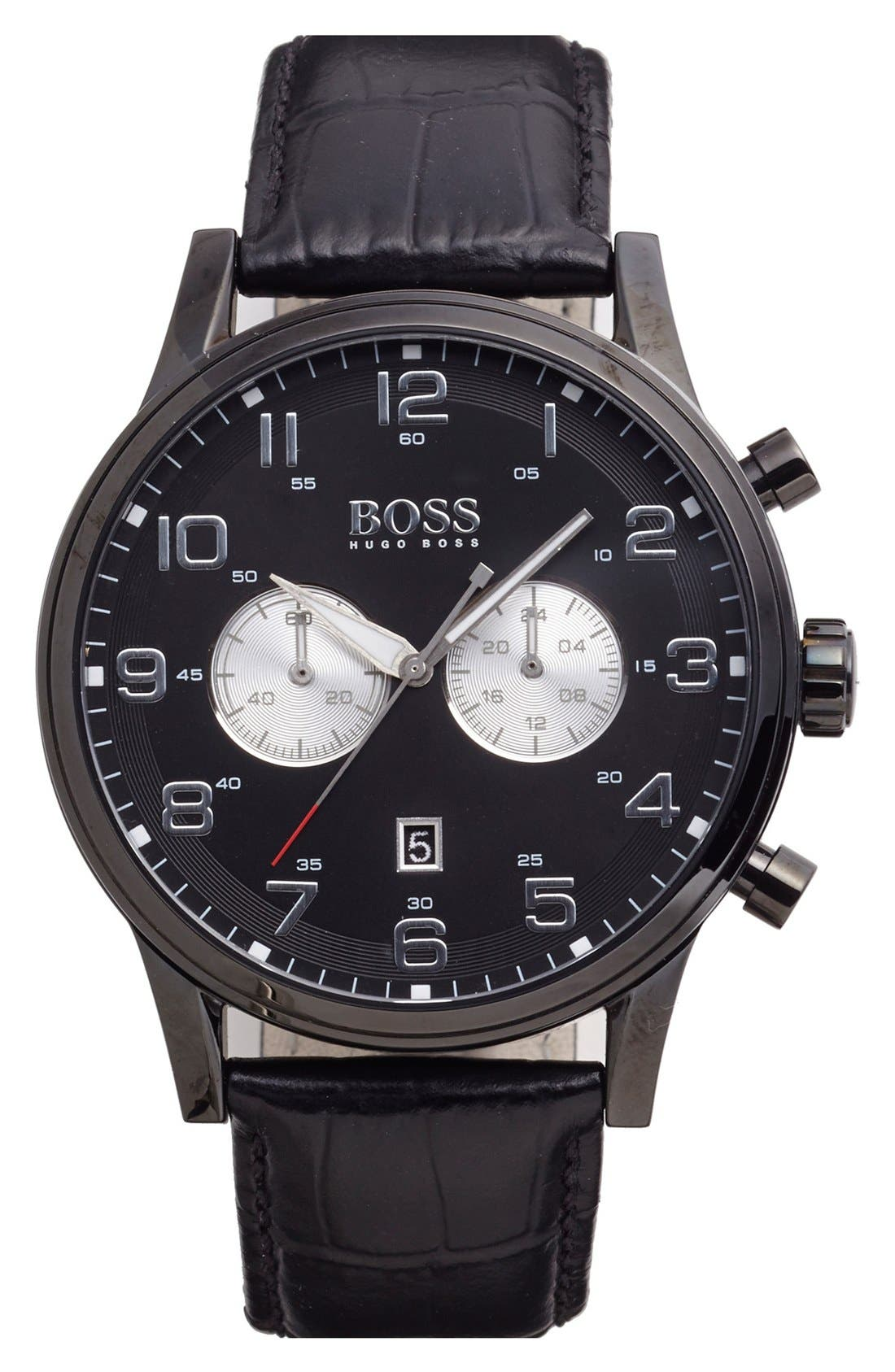 Main Image - BOSS Chronograph Leather Strap Watch, 44mm