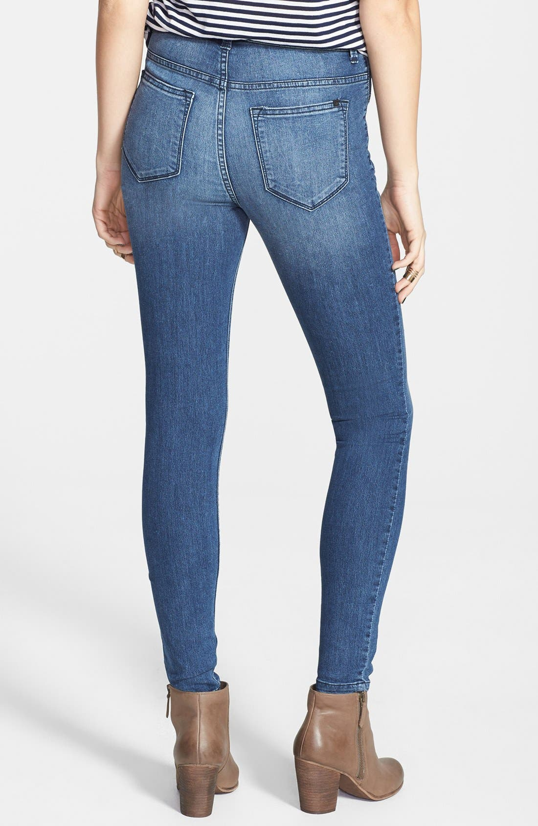 Alternate Image 2  - SP Black High Waist Skinny Jeans (Medium Wash) (Juniors) (Online Only)