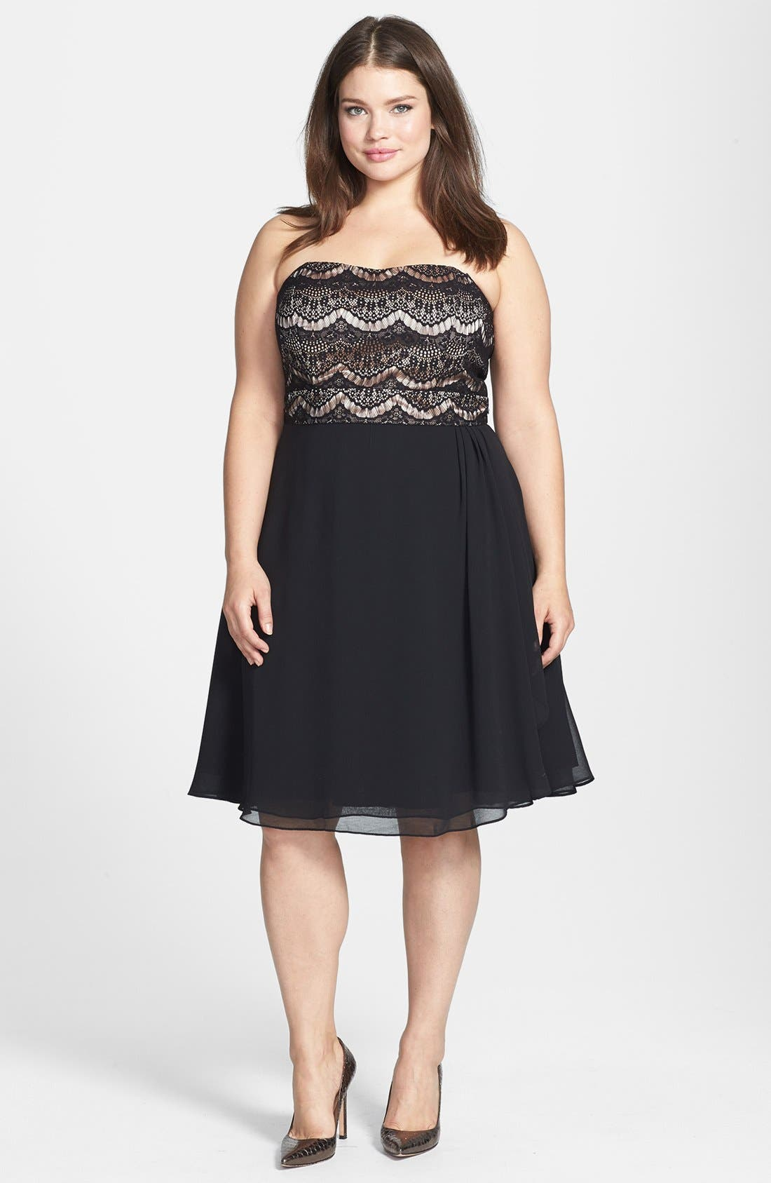 Main Image - City Chic Mixed Media Fit & Flare Dress (Plus Size)