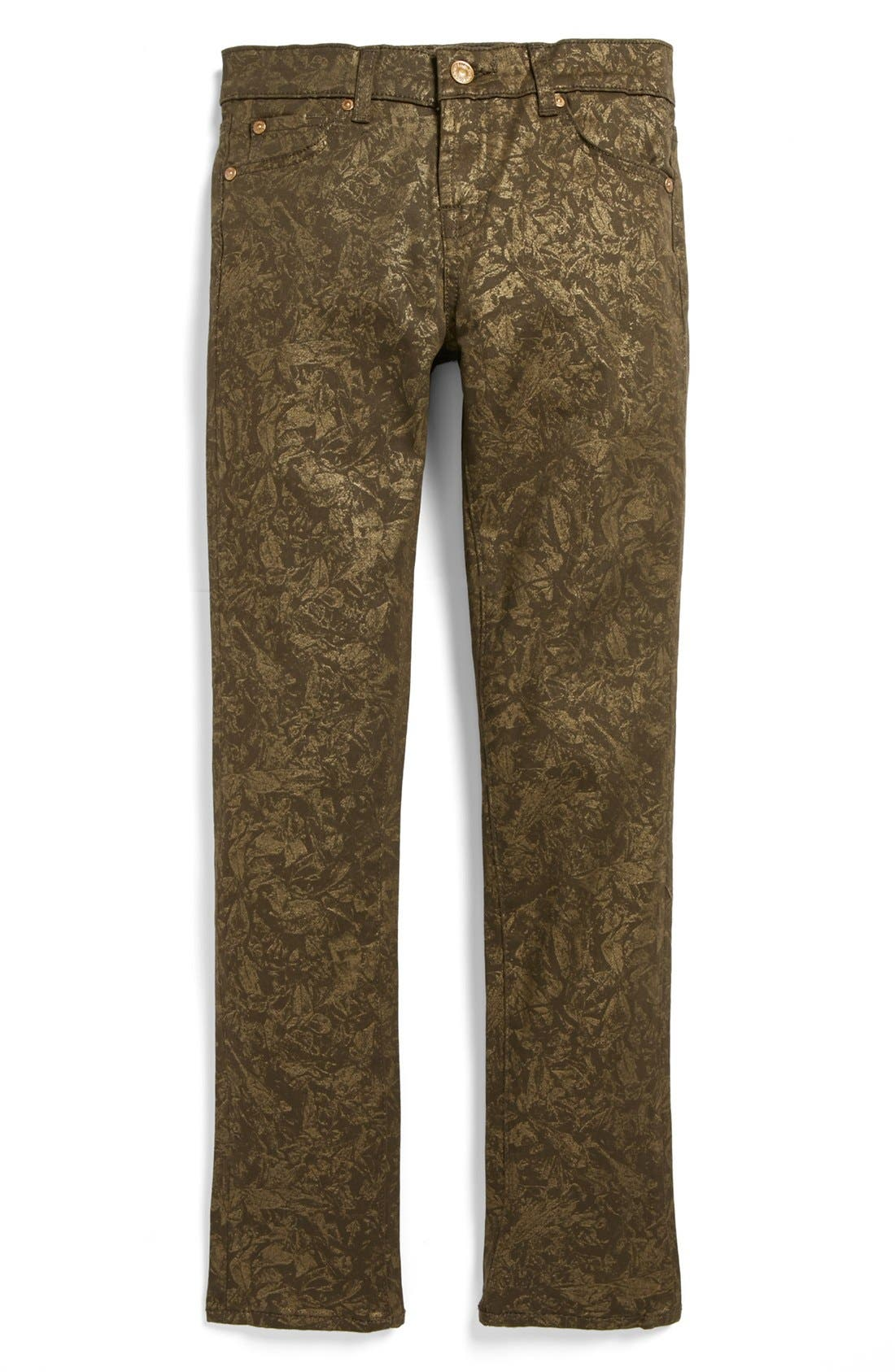 Alternate Image 2  - 7 For All Mankind® 'The Skinny' Print Jeans (Big Girls)