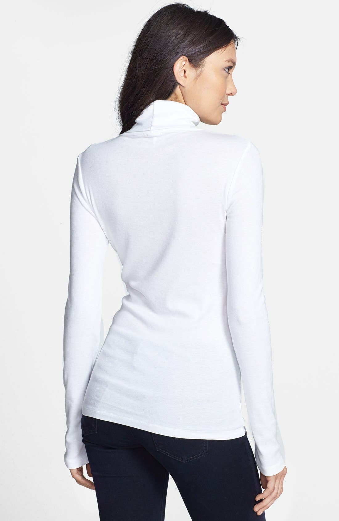 Fitted Turtleneck,                             Alternate thumbnail 2, color,                             White