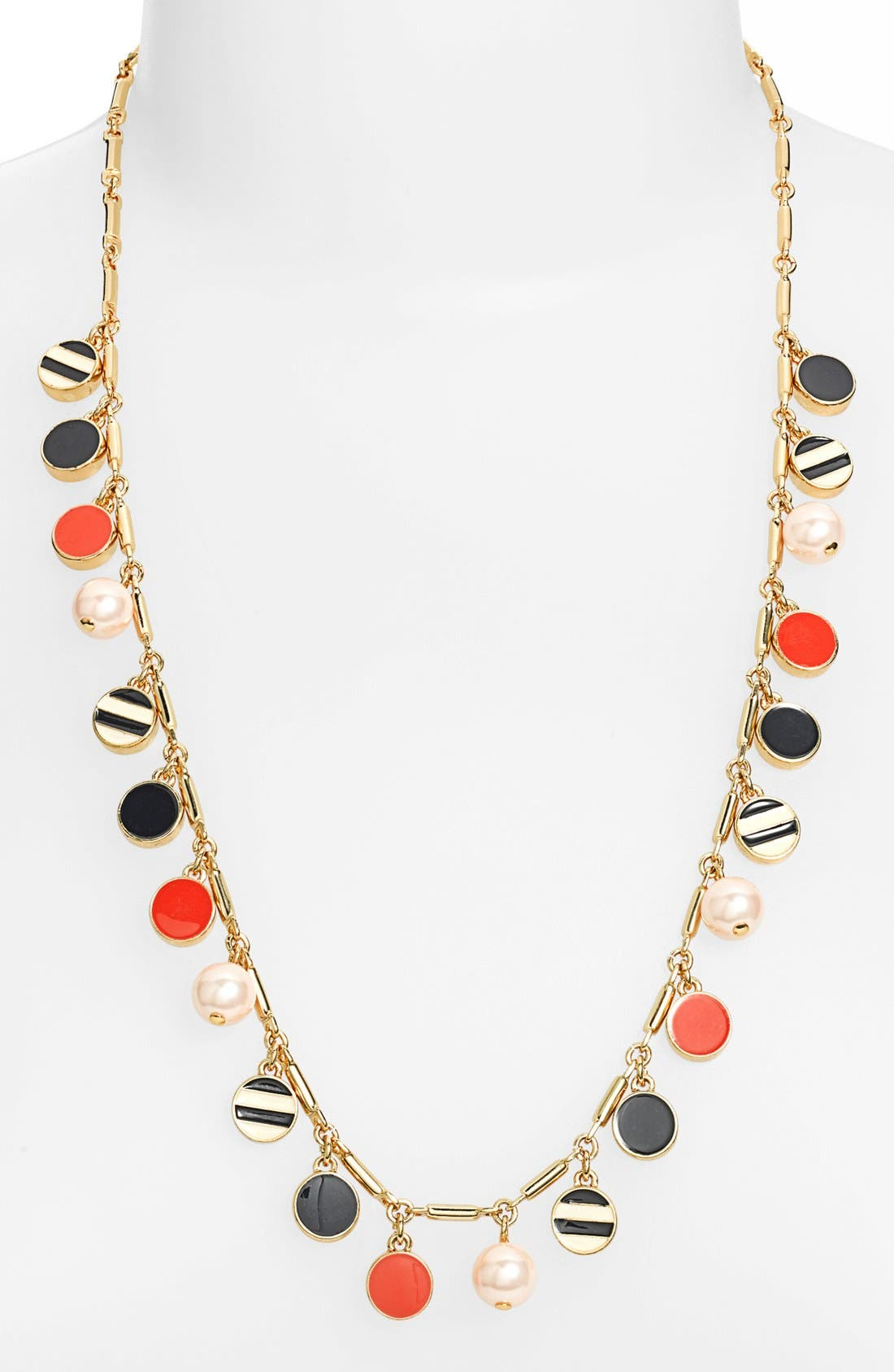 Main Image - kate spade new york 'spot the shore' enamel & faux pearl long necklace