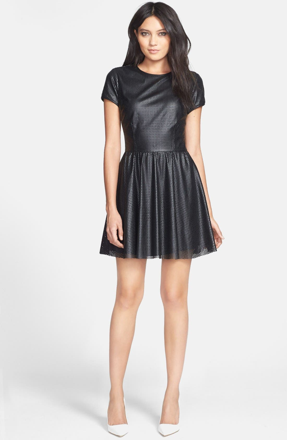 Alternate Image 1 Selected - Lucca Couture Perforated Faux Leather Skater Dress