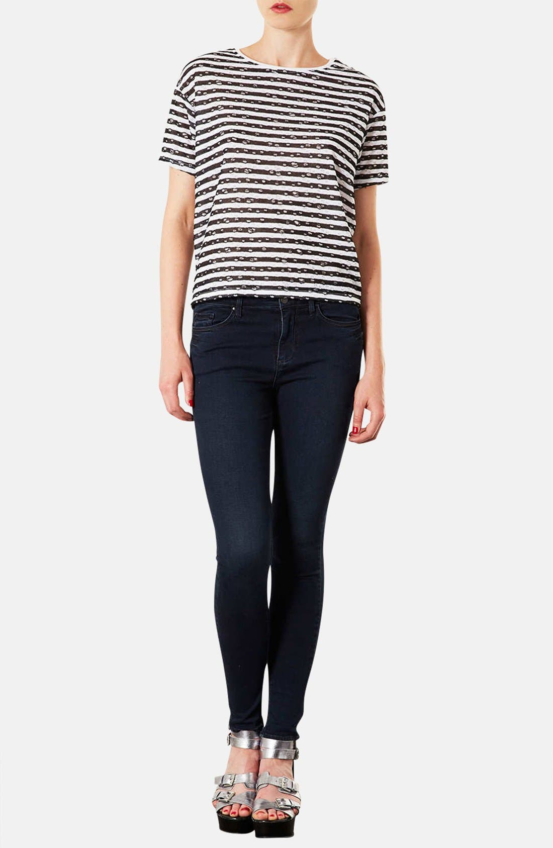 Alternate Image 4  - Topshop Moto 'Leigh' Skinny Jeans (Indigo) (Regular & Short)