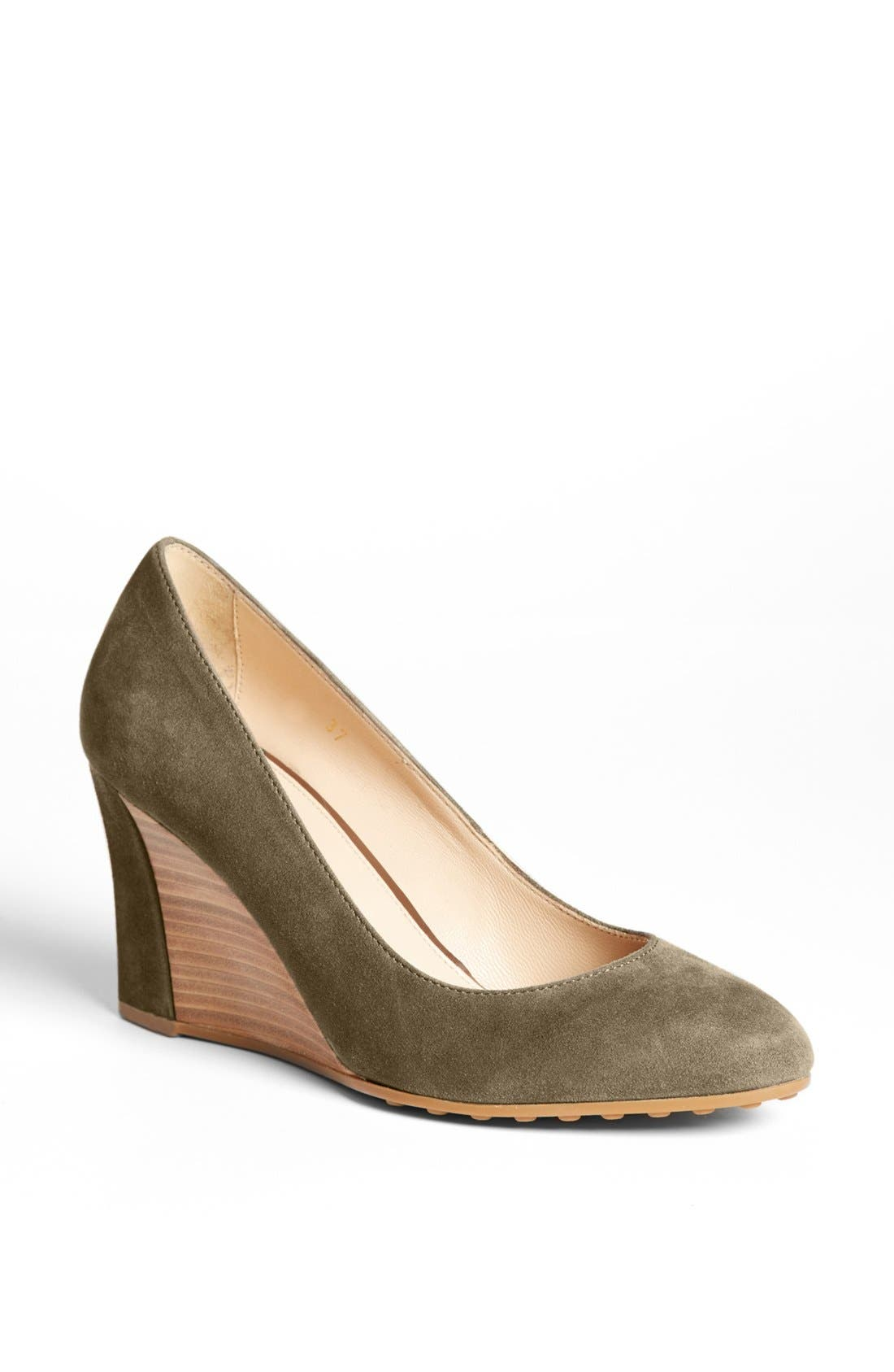 Alternate Image 1 Selected - Tod's Suede Wedge Pump