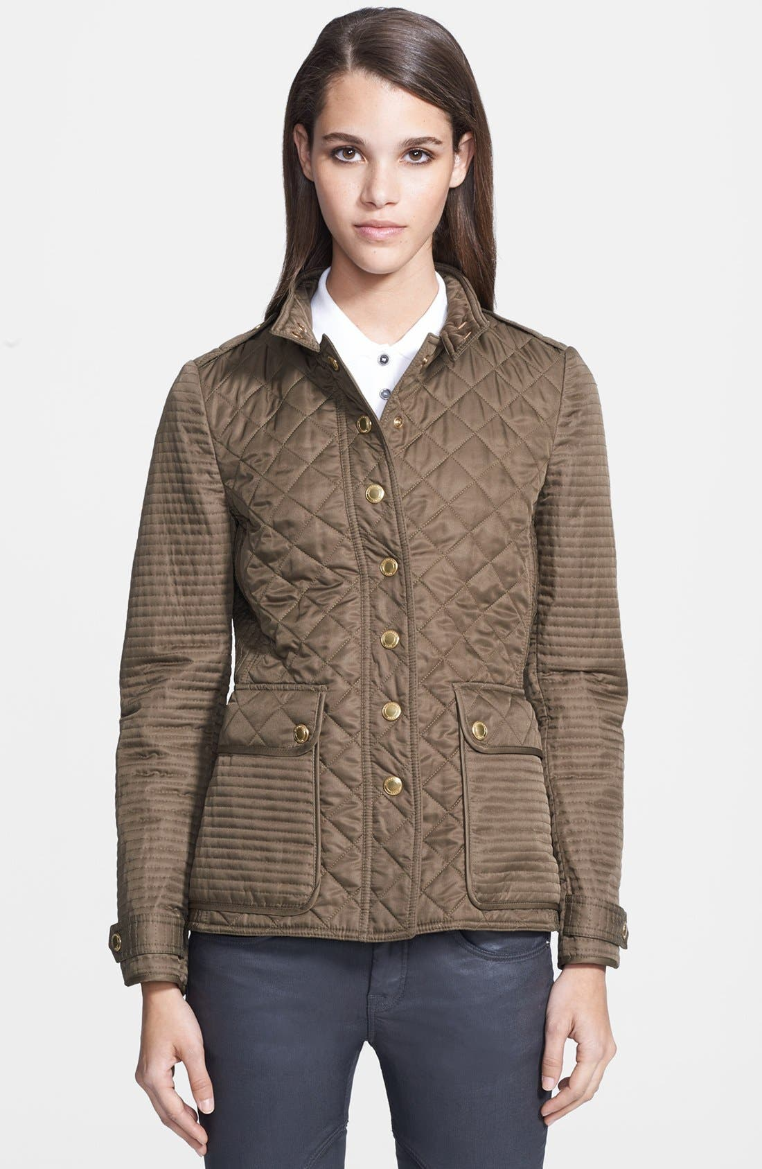 Alternate Image 1 Selected - Burberry Brit 'Willsmoore' Quilted Snap Front Jacket