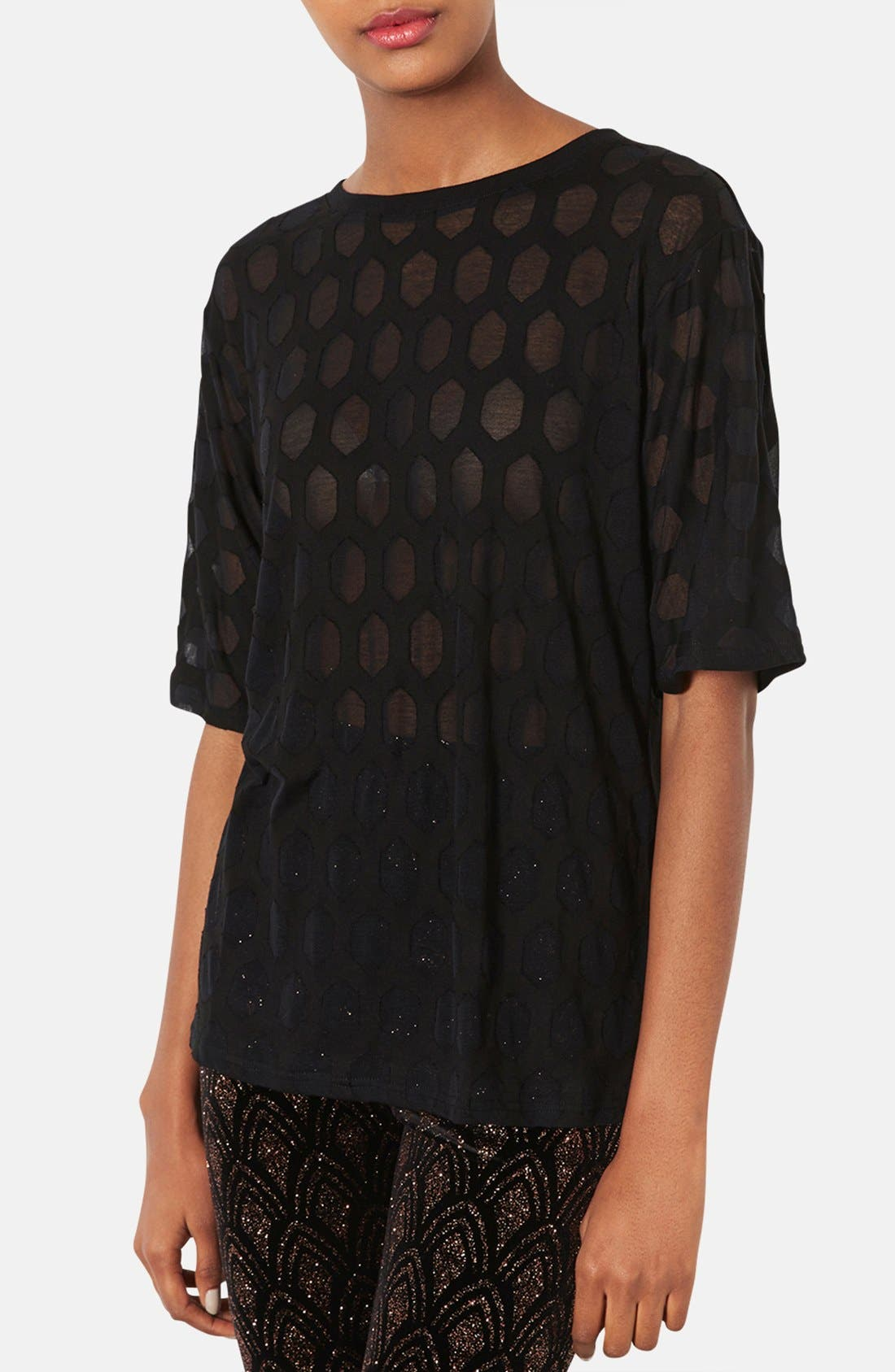 Alternate Image 1 Selected - Topshop Patterned Burnout Tee