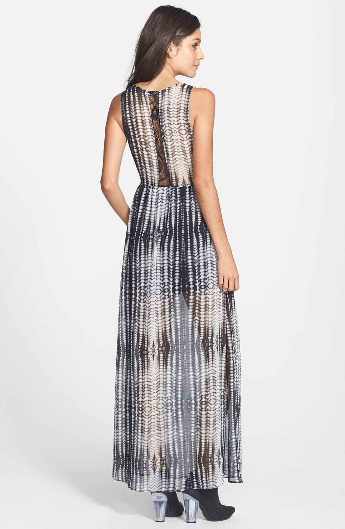 Alternate Image 2  - Lush Lace Inset Print Maxi Dress (Juniors)