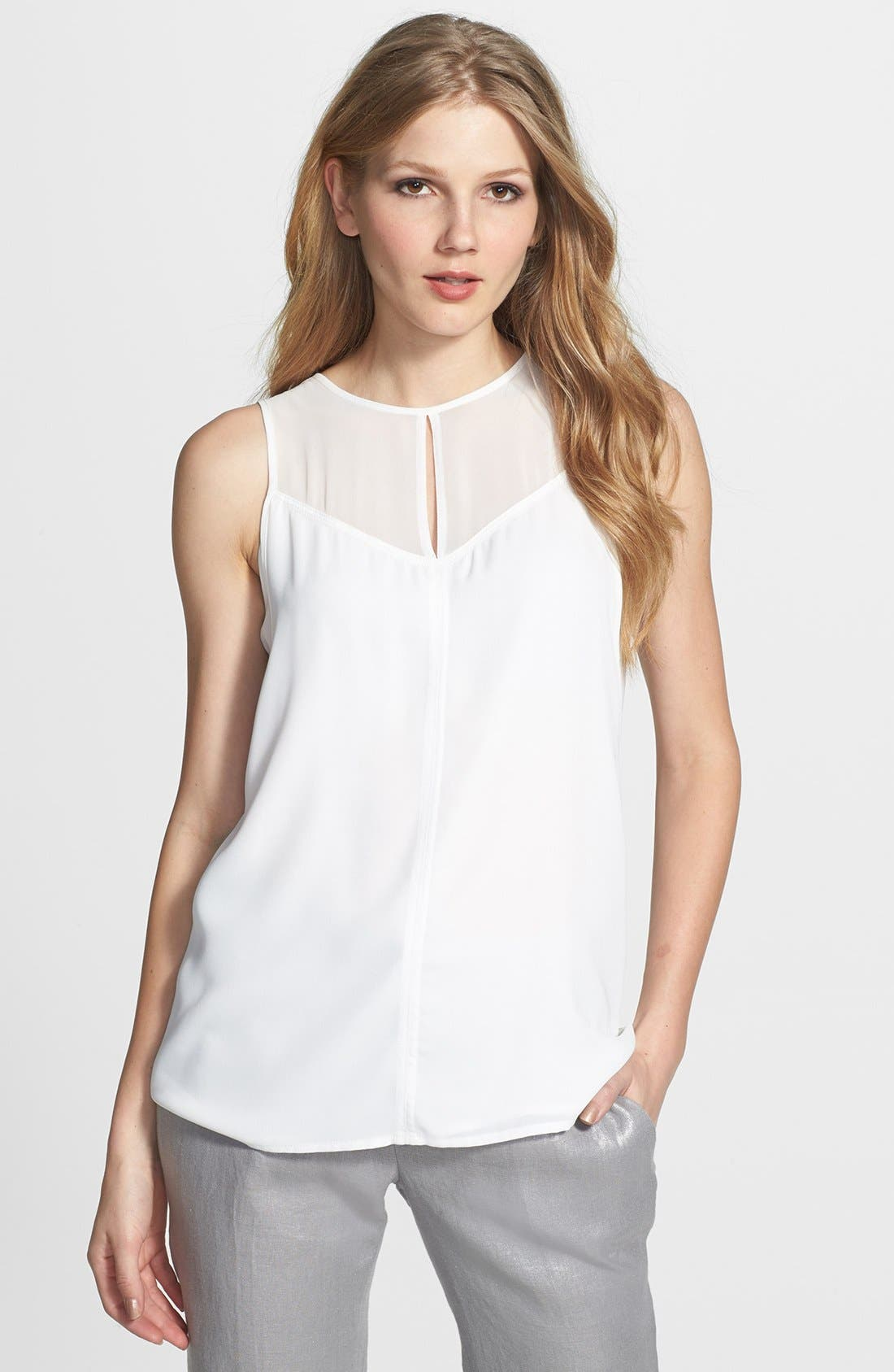 Alternate Image 1 Selected - Vince Camuto Front Seam Double Layer Sleeveless Blouse