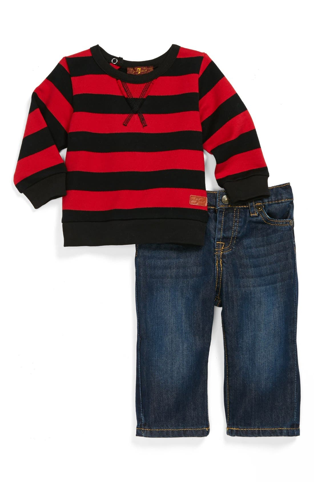 Main Image - 7 For All Mankind® Dark Wash Jeans & Stripe Top (Baby Boys)