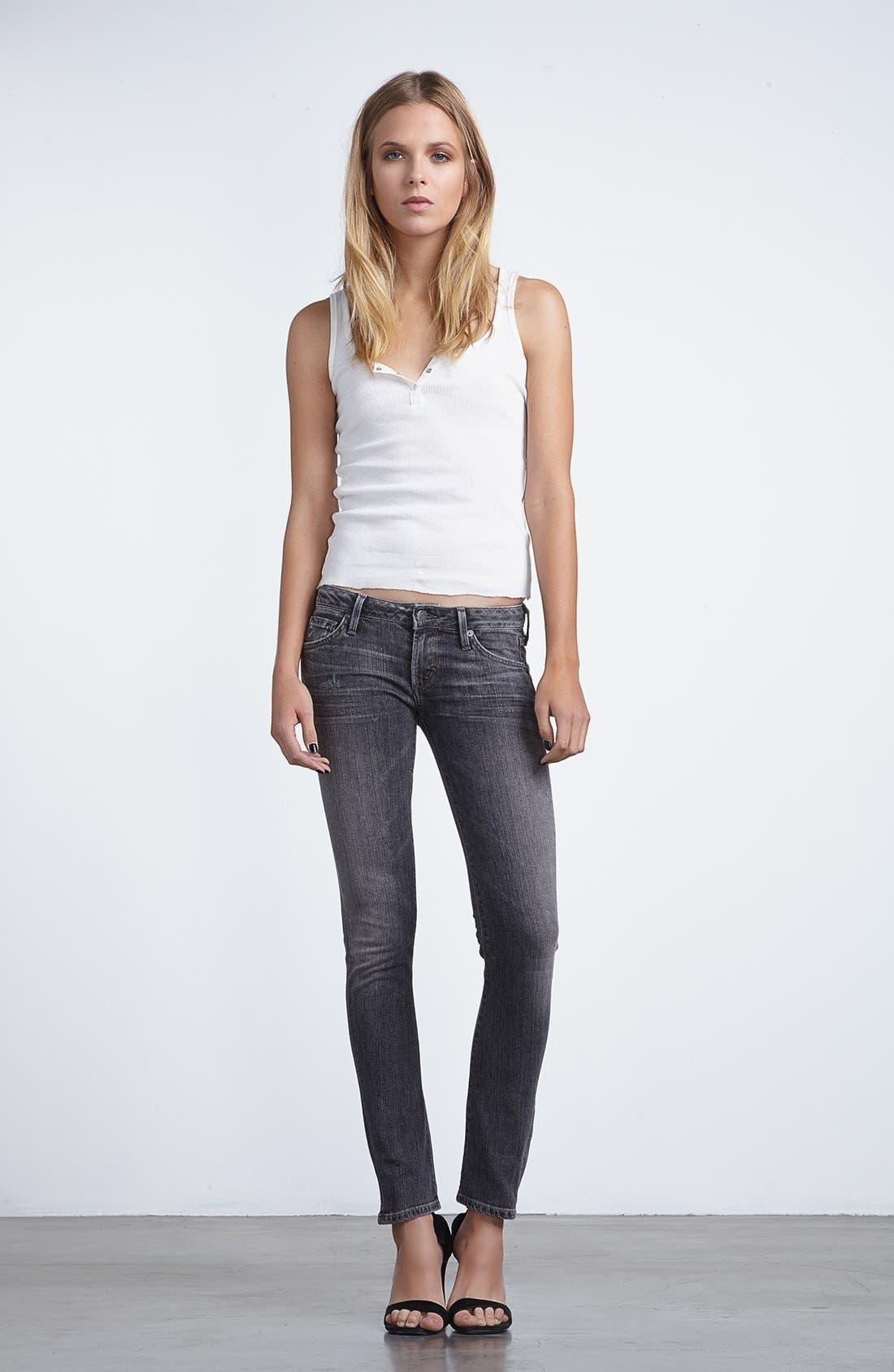 'Racer' Low Rise Skinny Jeans,                             Alternate thumbnail 4, color,